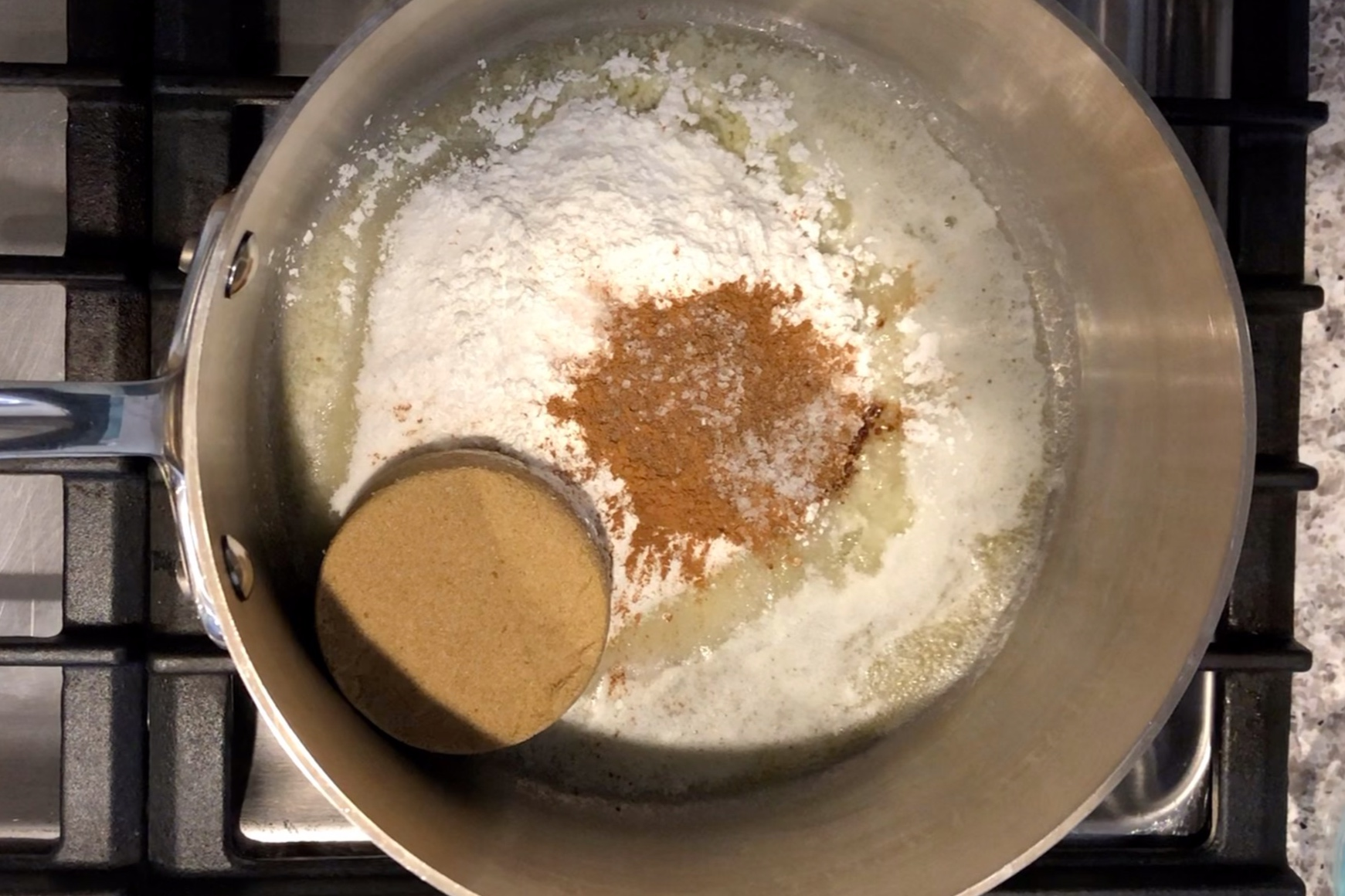 3. Add the sugar, brown sugar, cornstarch, cinnamon, nutmeg and salt. Mix until combined. -