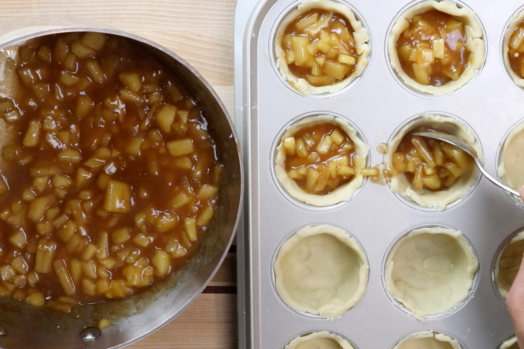 10. Fill each cup with apple filling about 3/4 of the way to the top. -