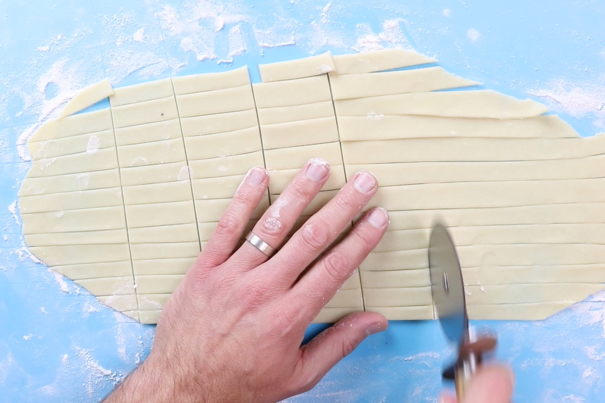 11. Roll out remaining 1/2 of pie crust and cut into small strips to lattice on top of pies,or cut 2 1/2 inch circles to cover the pies. If using the circle cut outs, make sure to poke a vent hole in the top to allow the steam to escape. -