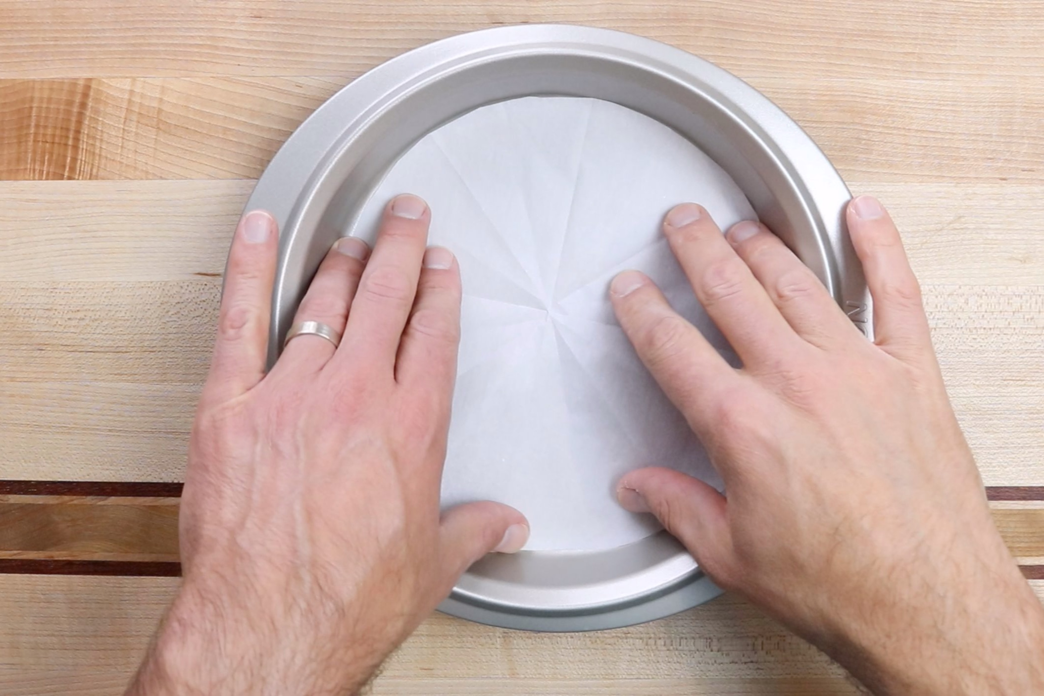 1. Pre-heat oven to 350 degrees and prepare 3 8-inch round cake pans with parchment paper and baking spray. -