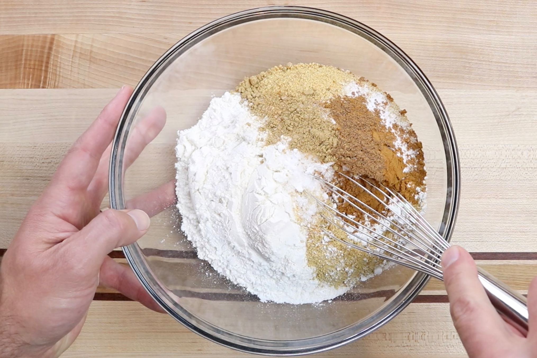 2. In a medium bowl add flour, graham cracker crumbs, cornstarch, baking soda, baking powder, salt, nutmeg, ginger, and cloves. Whisk until incorporated. Set aside. -