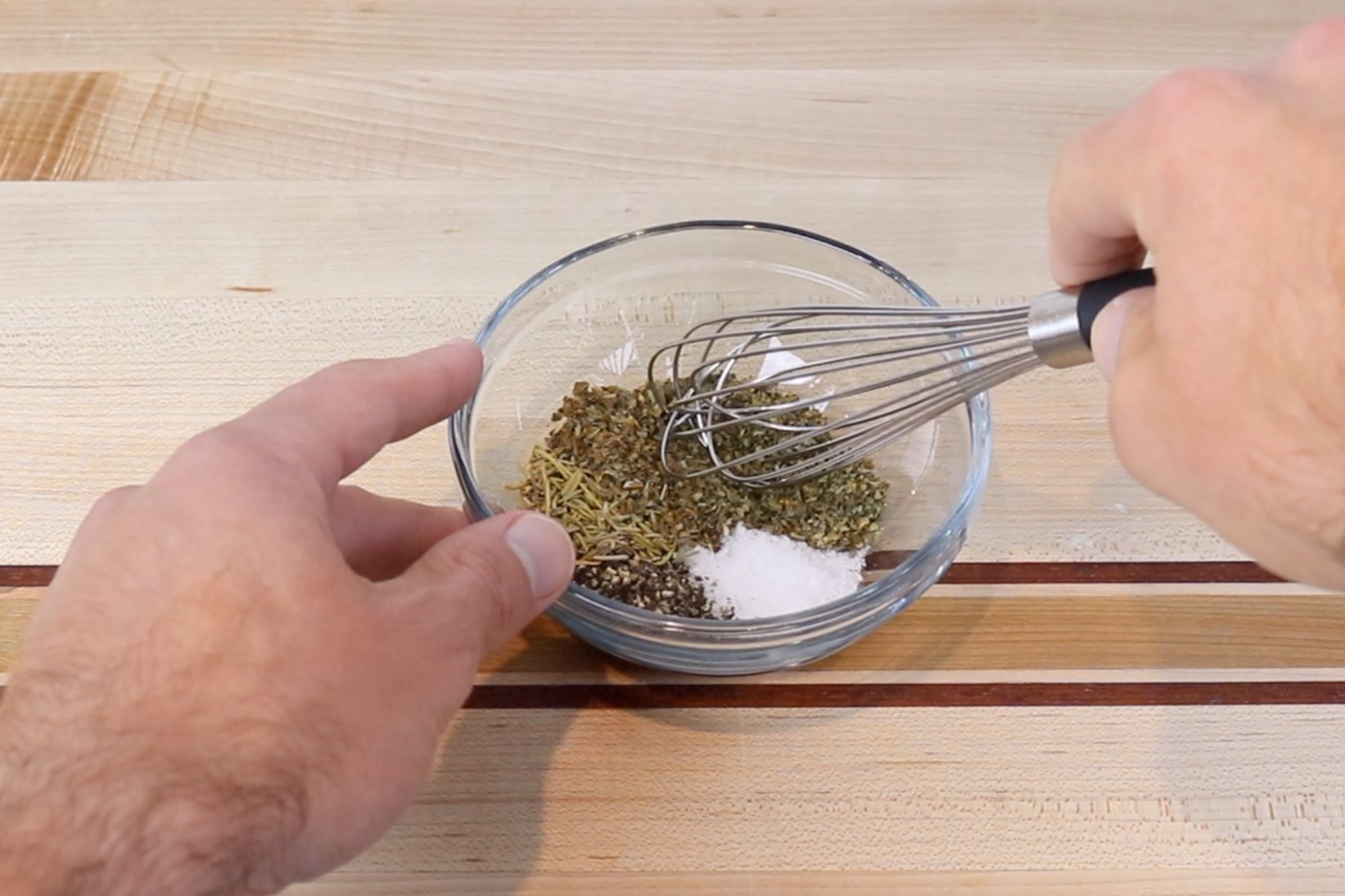 1. In a small bowl mix together salt, pepper, oregano, and rosemary to make the seasoning. -