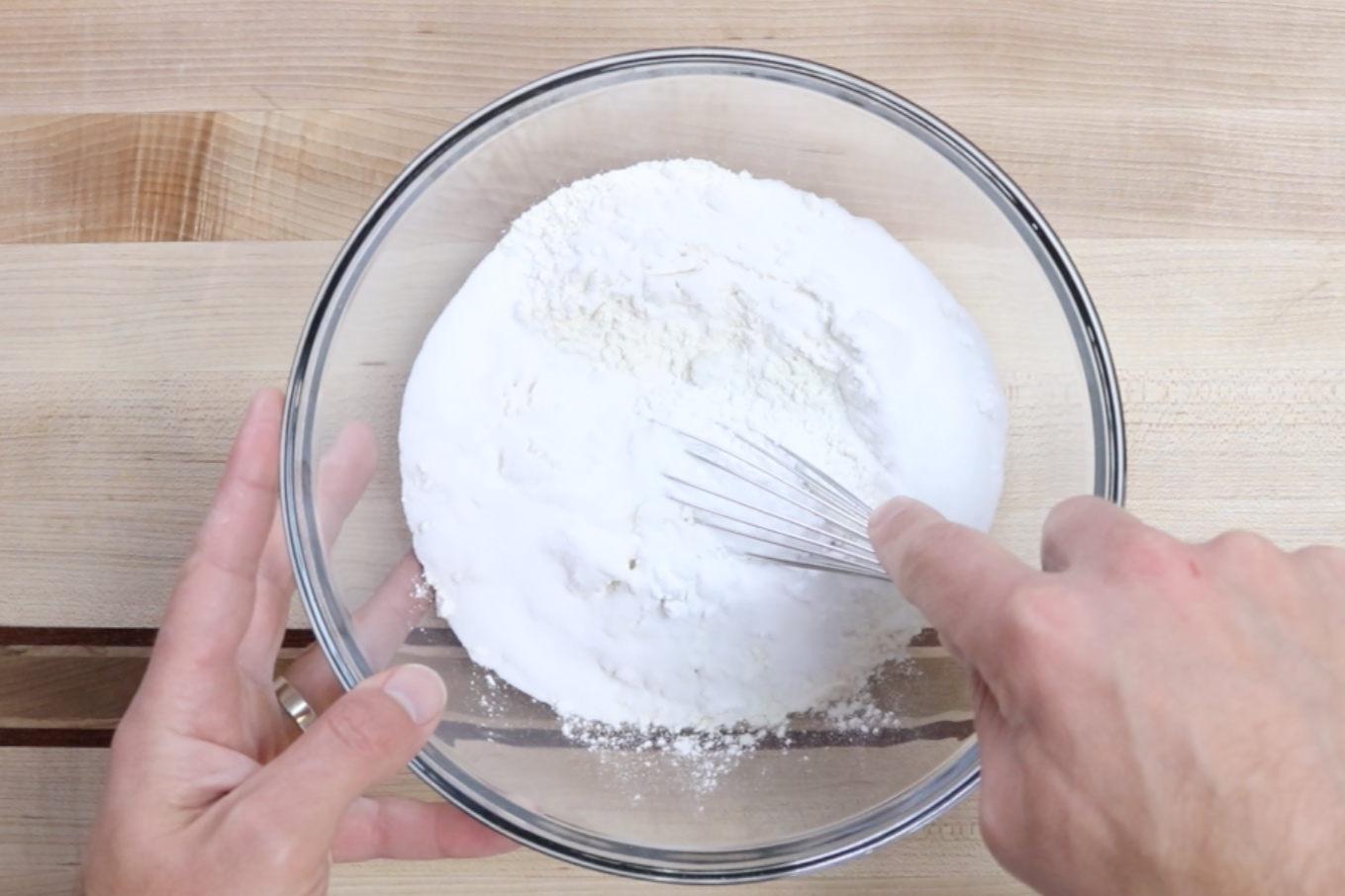 2. In a medium bowl combine flour, powdered sugar and sugar. -