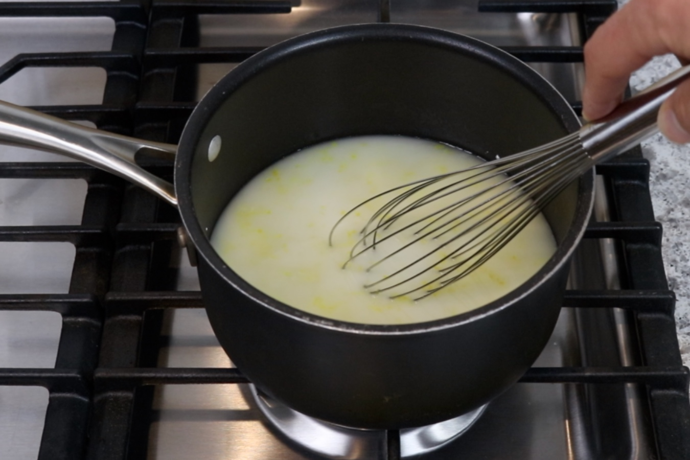 2. In a medium saucepan whisk together the water, sugar, cornstarch, lemon juice, lemon zest and salt. -