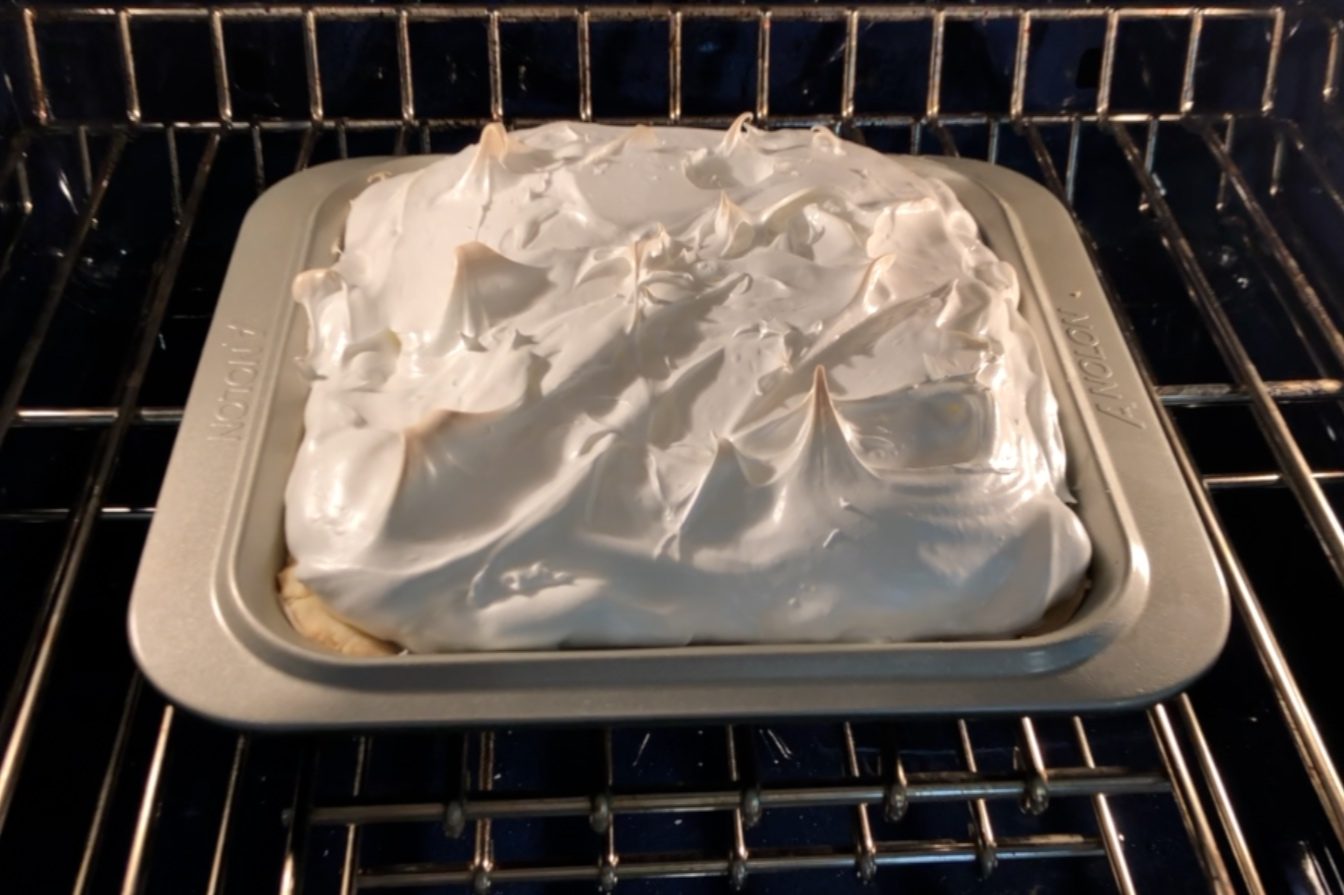 2. Bake meringue bars for 30 minutes at 325 degrees. Meringue should be firm and lightly browned on top. -