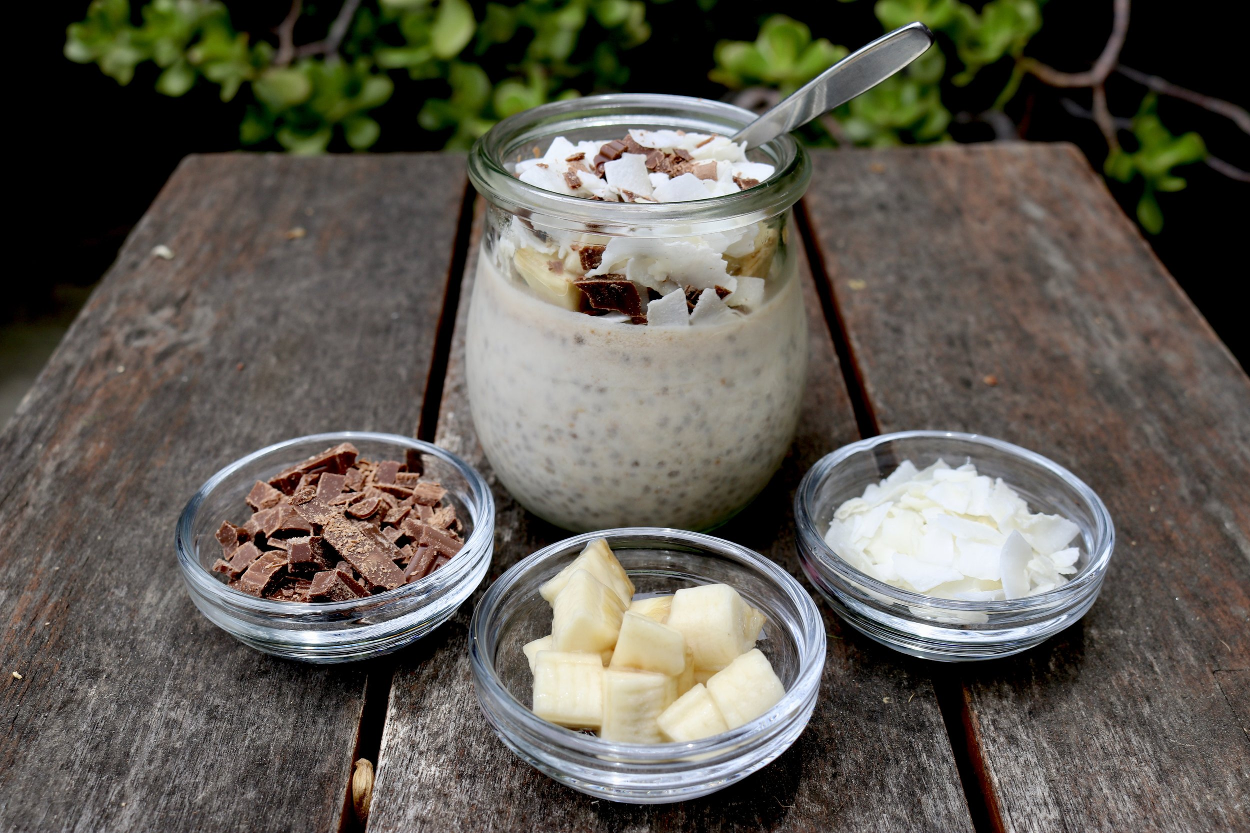 Coconut-Banana Chia Seed Pudding (with rum)