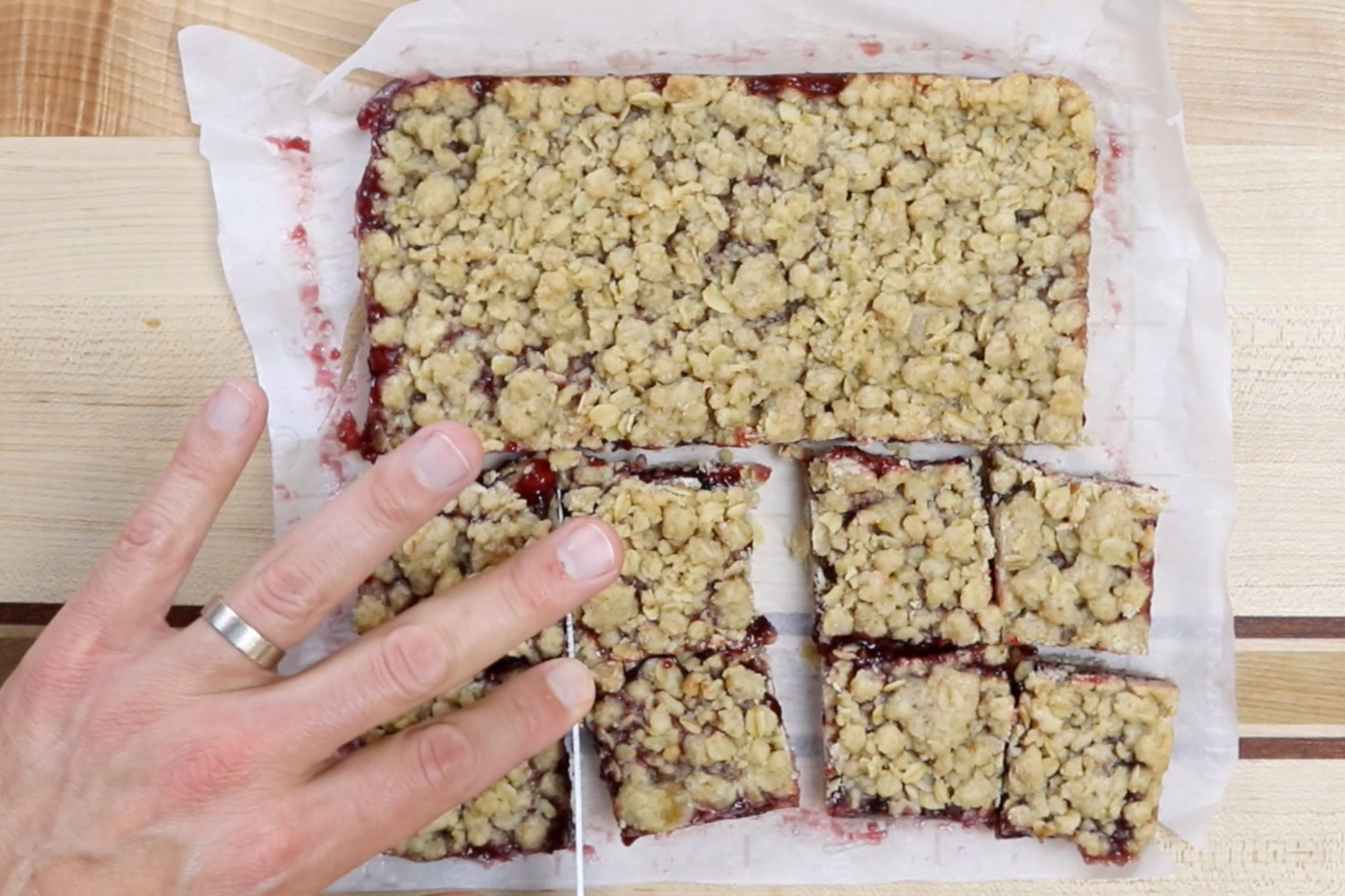7. Let bars cool in pan completely before cutting. For best results cover and put in the freezer for 30 minutes before cutting. -