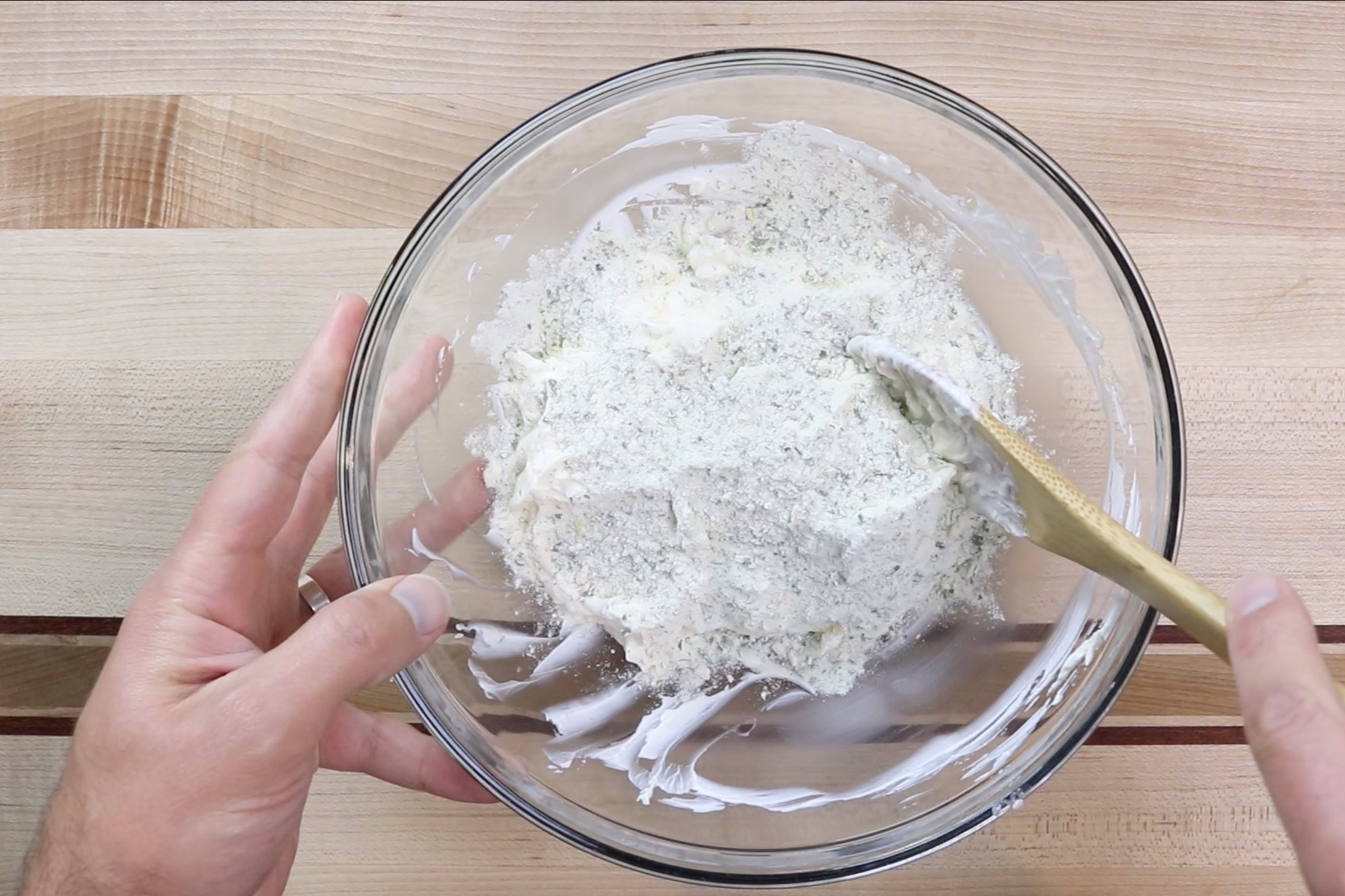 3. Stir in the ranch salad dressing packet. -