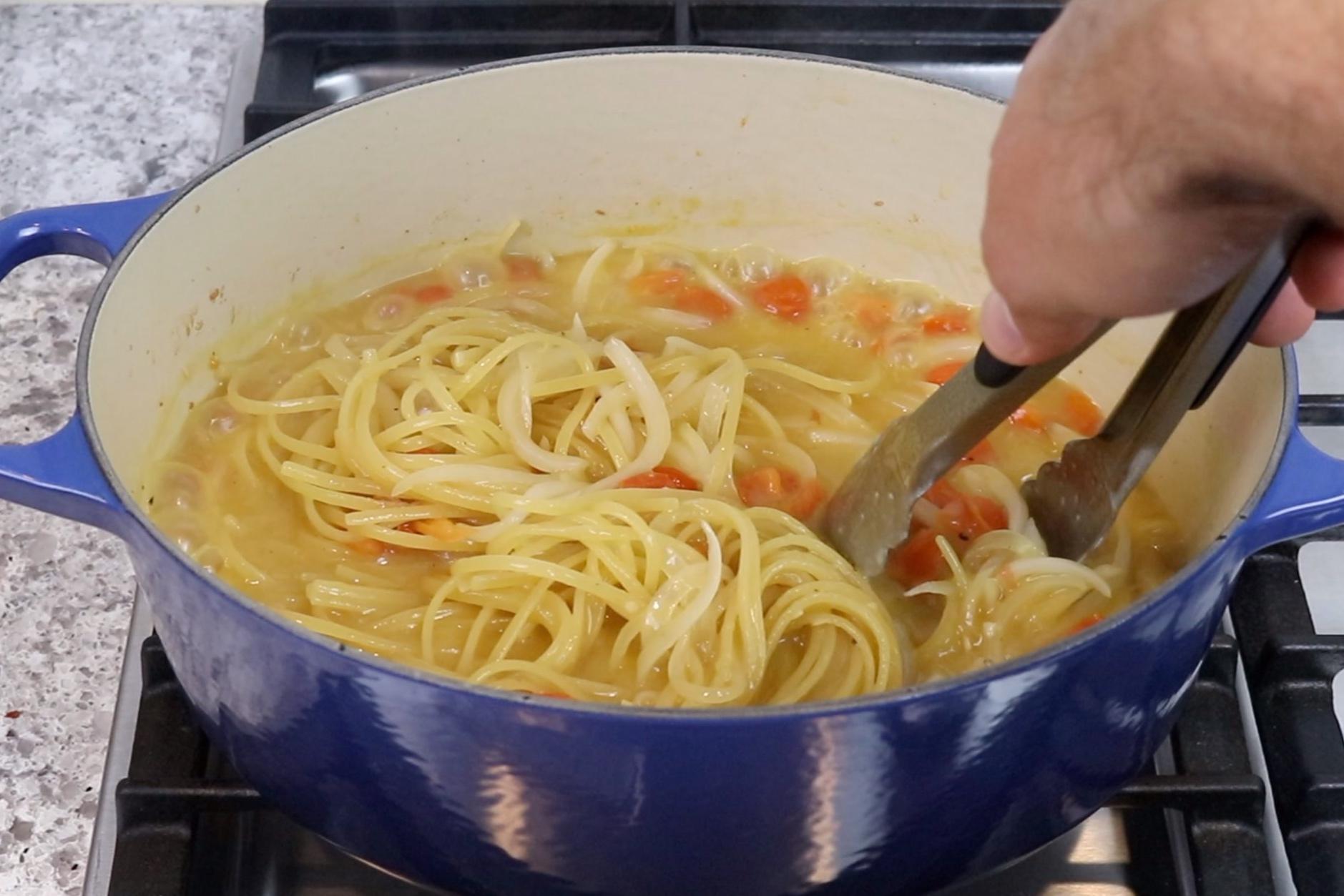 4. Boil pasta over medium-high heat for around 8 minutes stirring often until most of the liquid evaporates. -