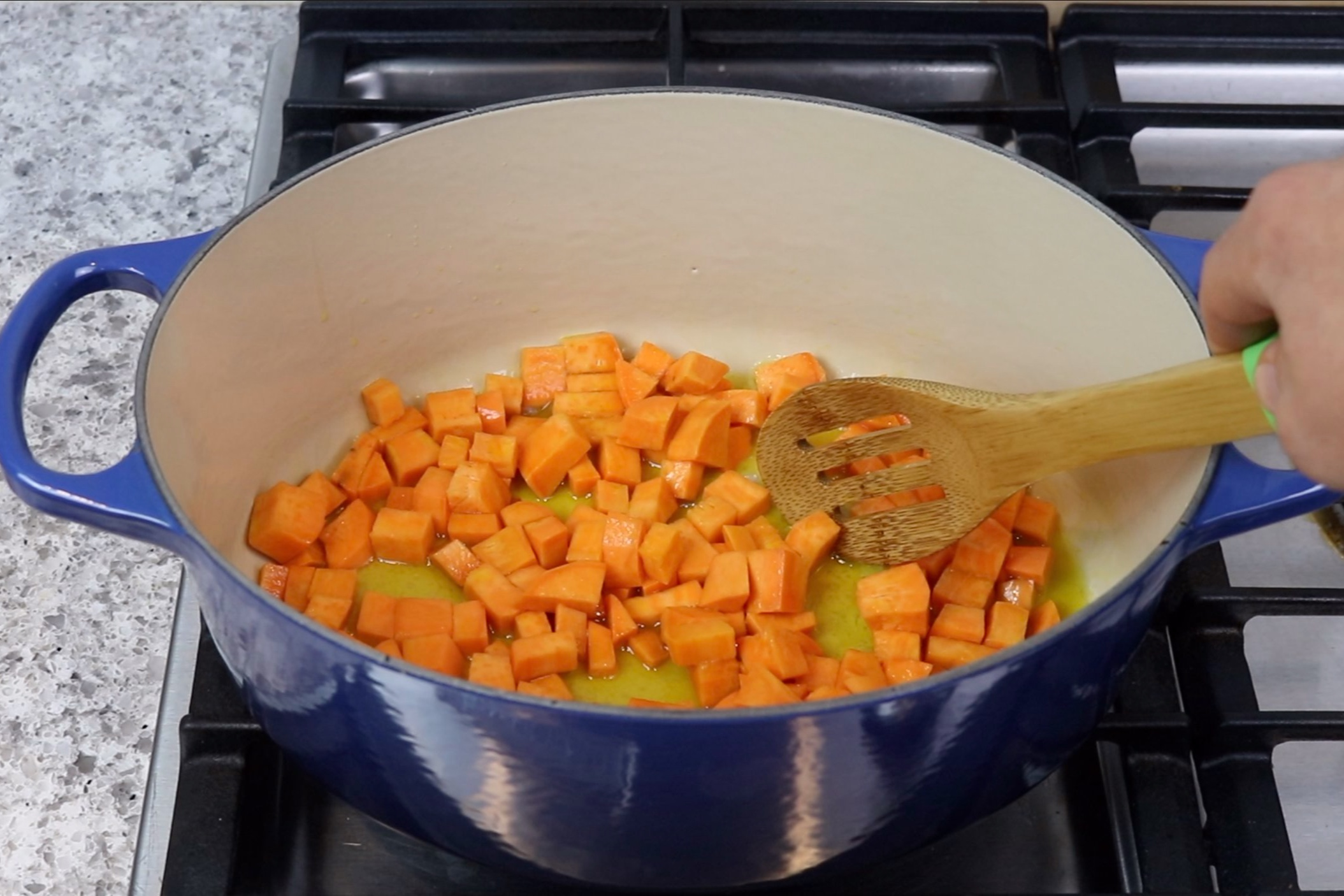 1. Heat the olive oil in large skillet over medium heat. Add the sweet potato and sauté for 5 minutes. -
