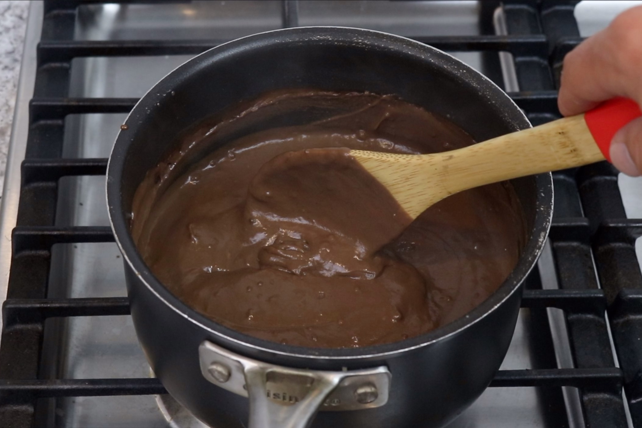5. Cook for 5-7 minutes over medium-low heat stirring constantly until mixture thickens to a pudding like consistency. -