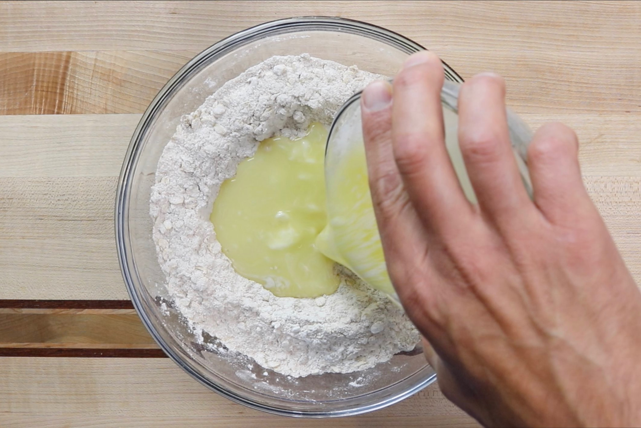 3. Add the melted butter and vanilla. -