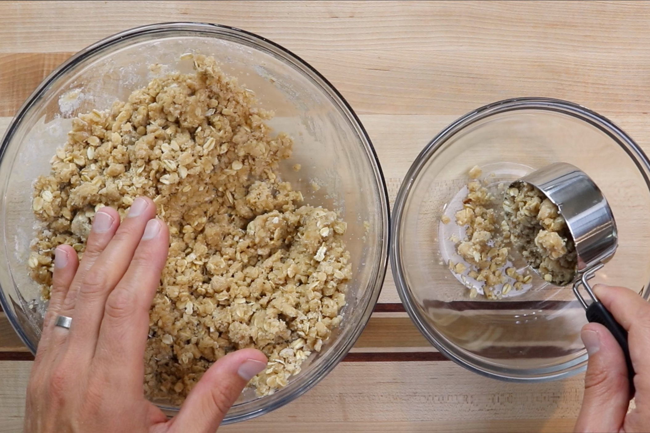 5.Set aside 1 1/2 cups of the crumble mixture for topping. -