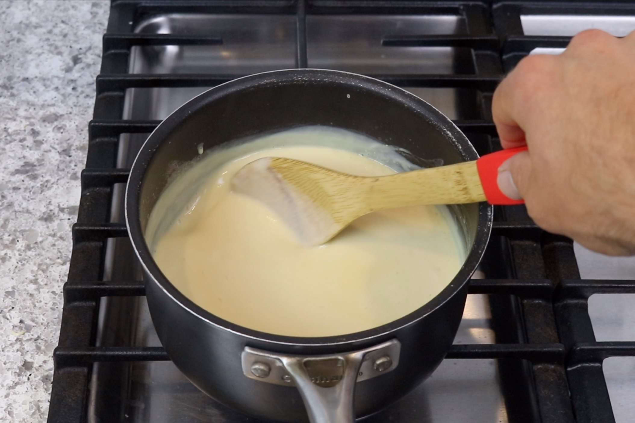 5. Return the saucepan to the stove and cook over medium-low heat stirring constantly. Cook for another 3-4 minutes, but keep the mixture just below a boil or the milk will curdle. -