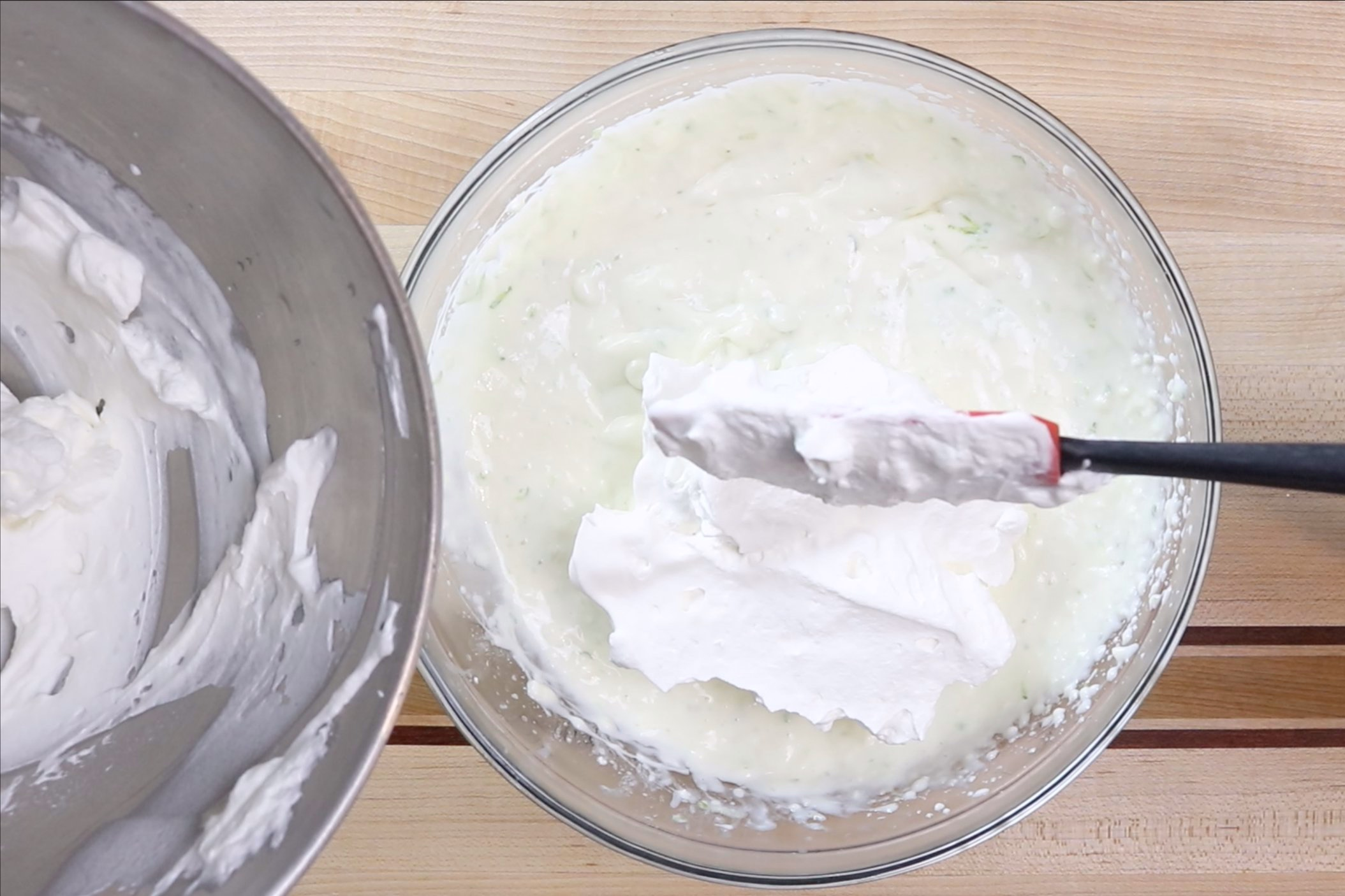 7. Gently fold 1/2 cup whipped cream into key lime mixture. Cover the rest of the whipped cream and refrigerate. -
