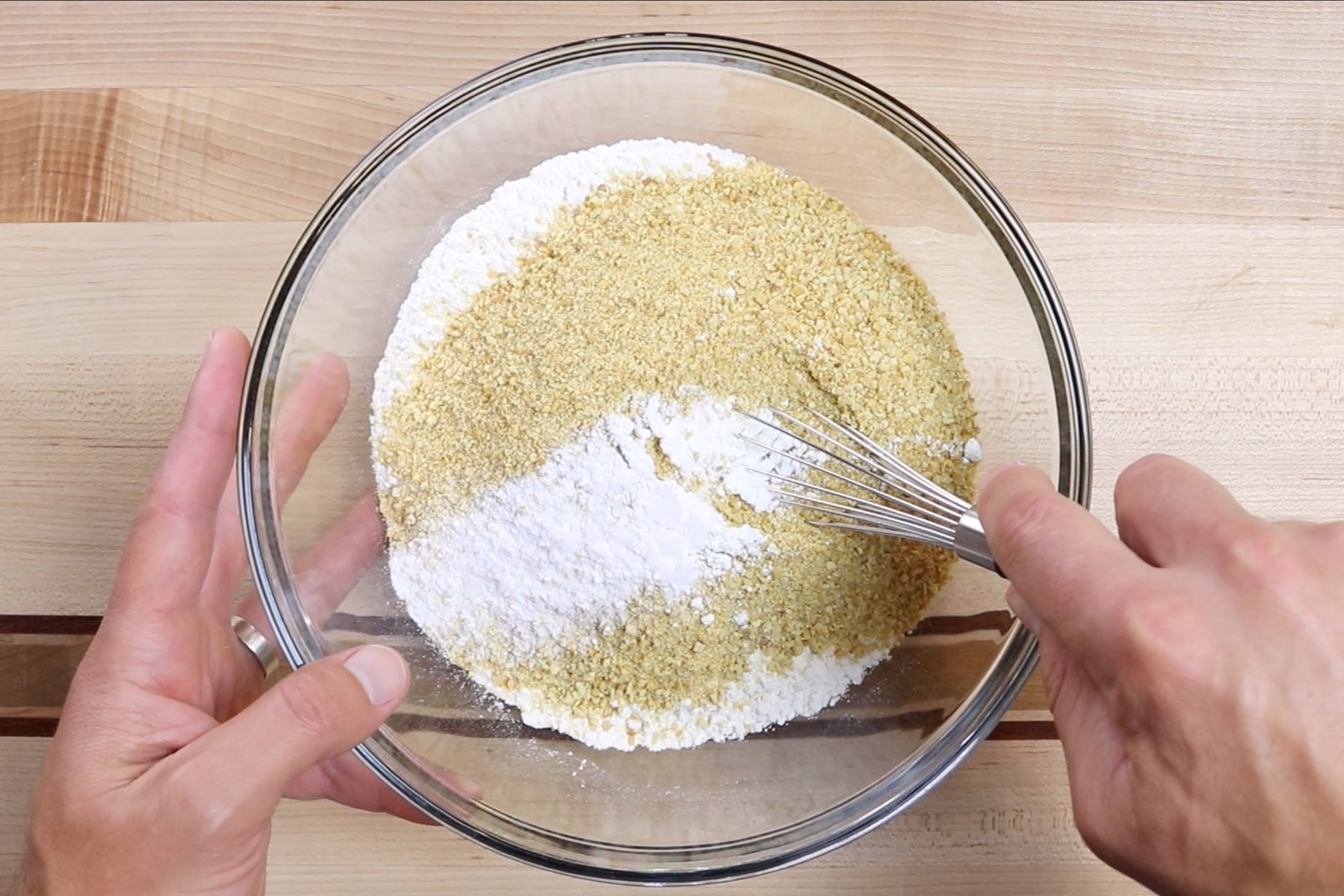 1. In a medium bowl add the flour, graham cracker crumbs, cornstarch, baking powder, baking soda and salt. Whisk together until incorporated. -
