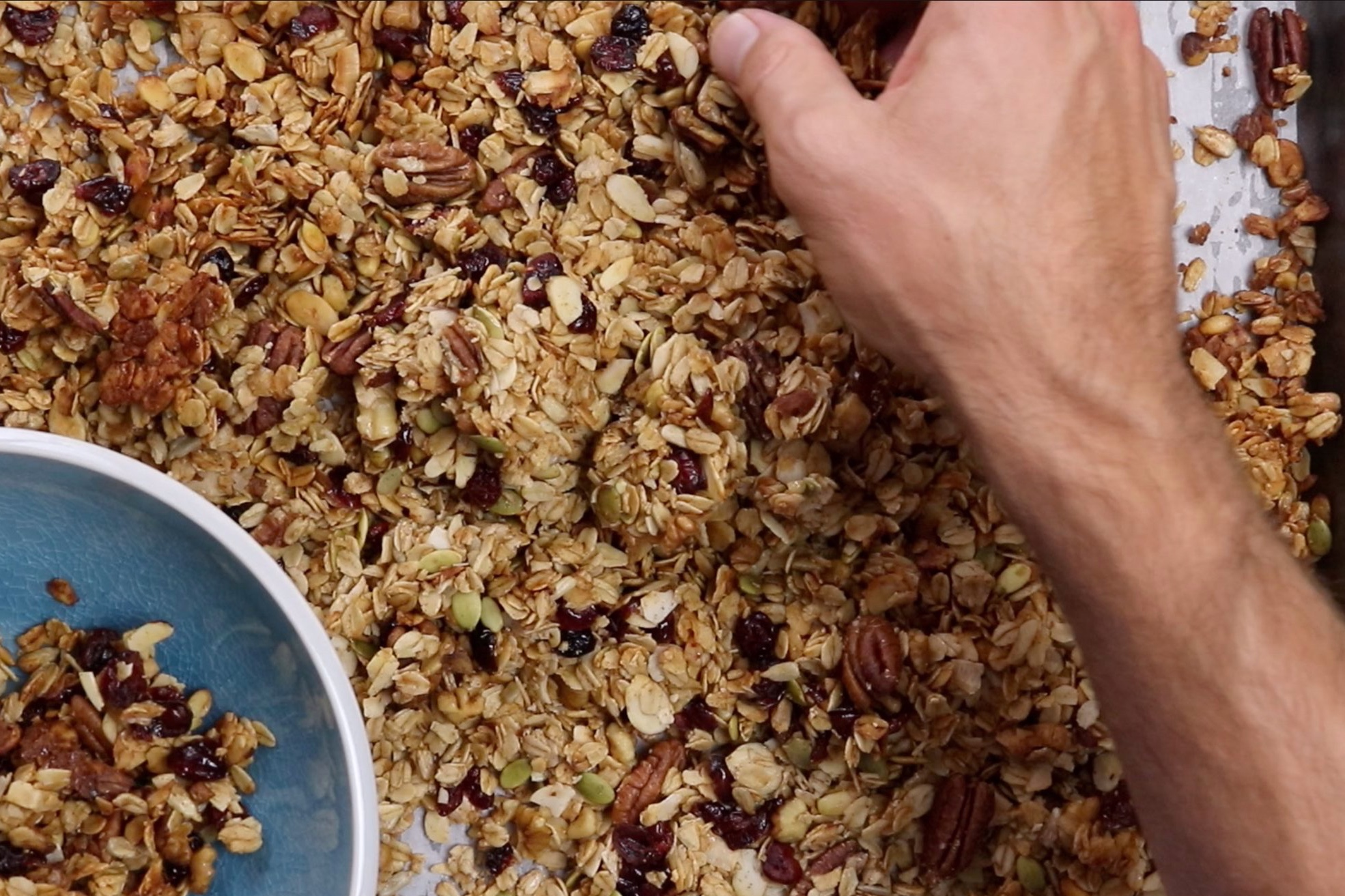 8. Break granola into chunks and store in Tupperware or Ziploc bags for up to 2 weeks. -