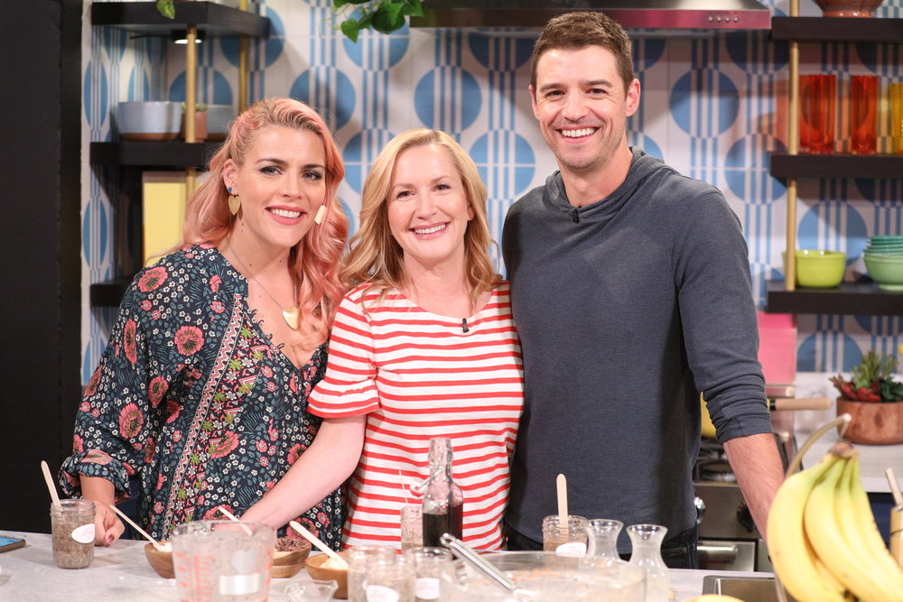 Whipping Up Boozy Banana Chia Seed Pudding - Celebrity baking duo Angela Kinsey & Josh Snyder cook it and throw it back on