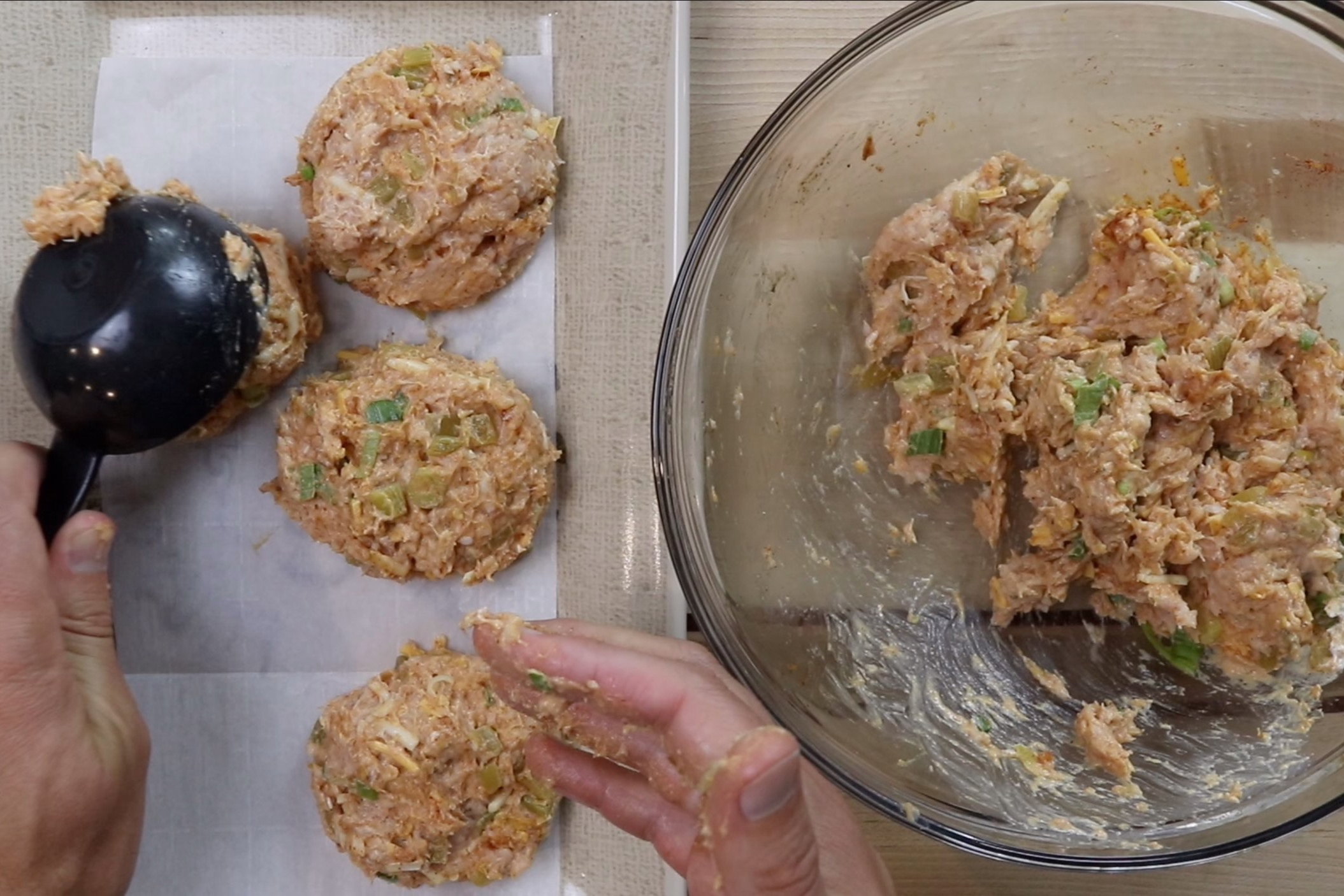 4. Using a 1/2 cup scoop or your hands, create 6 firmly packed chicken burger patties. -