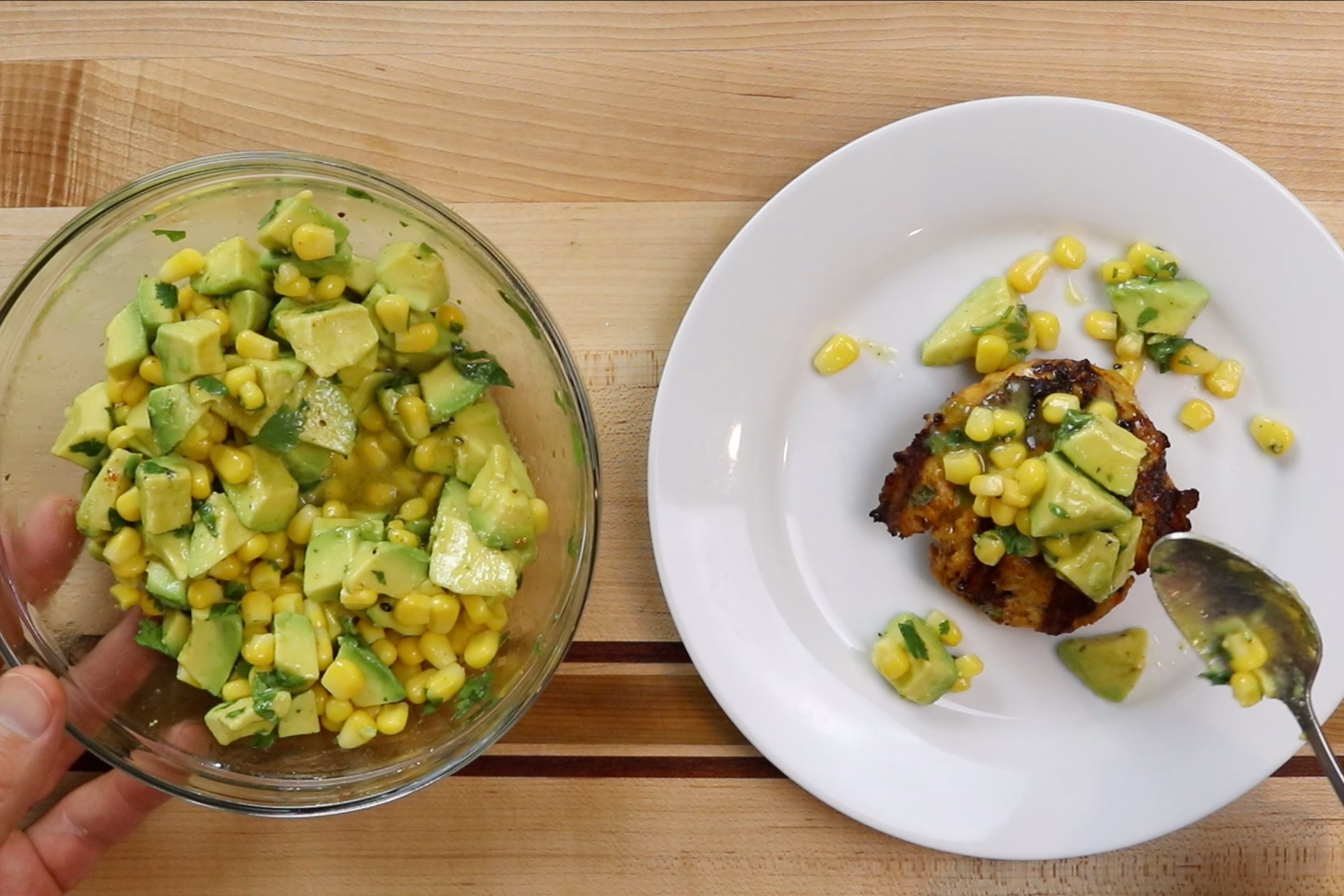 7. Top the chicken burgers with the avocado salsa and serve immediately. -
