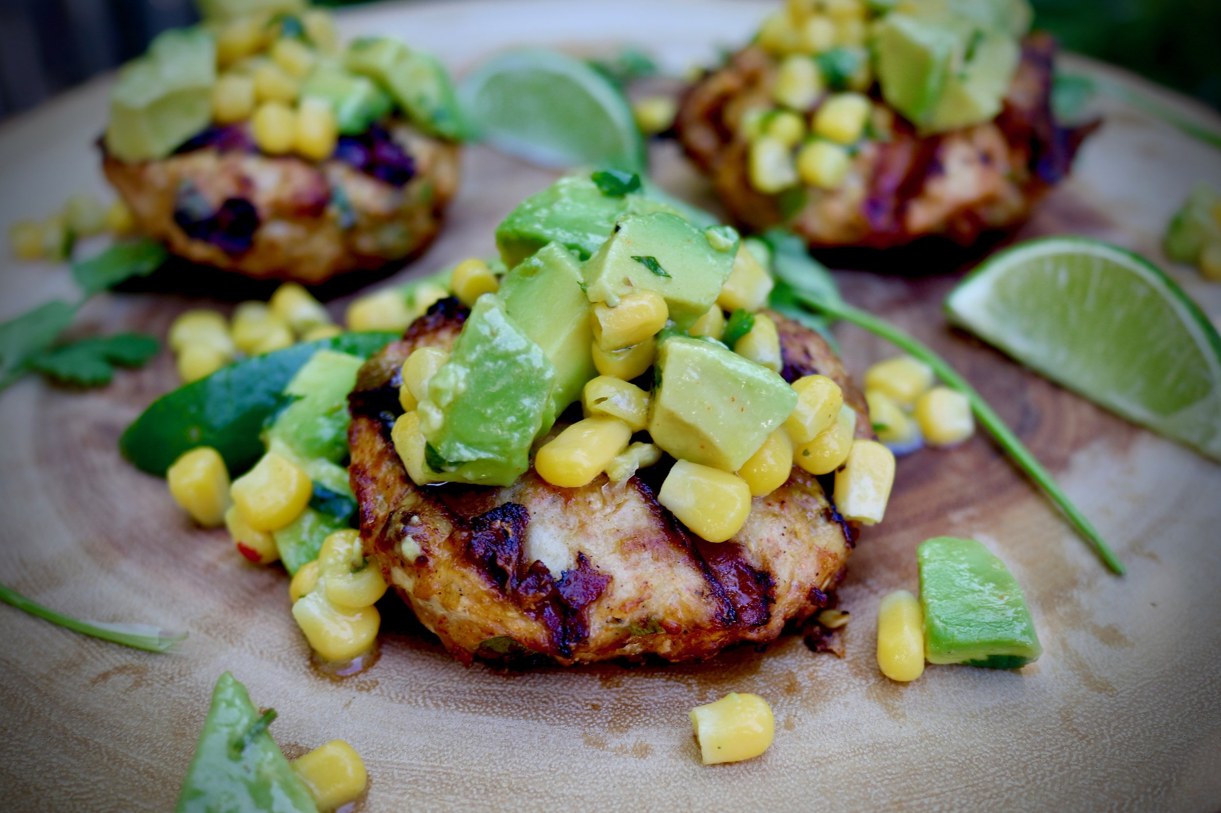 Southwest Chicken Burgers With Avocado Salsa