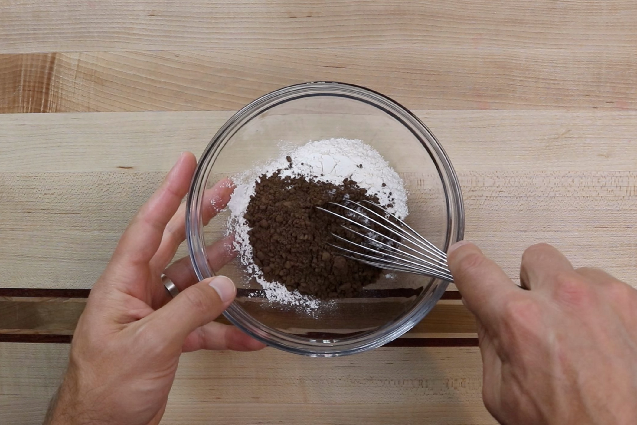 2. In a medium bowl, whisk together flour, cocoa and salt. Set aside. -