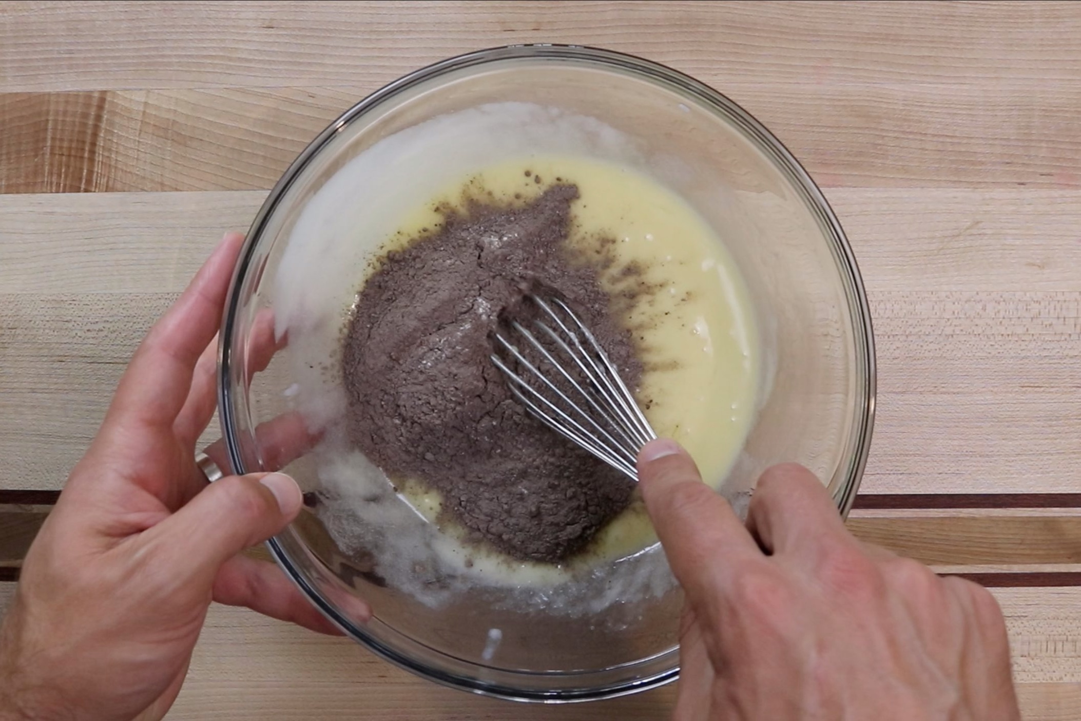 5. Slowly add the flour mixture to the wet mixture. Mix until just combined. Do not overmix. -