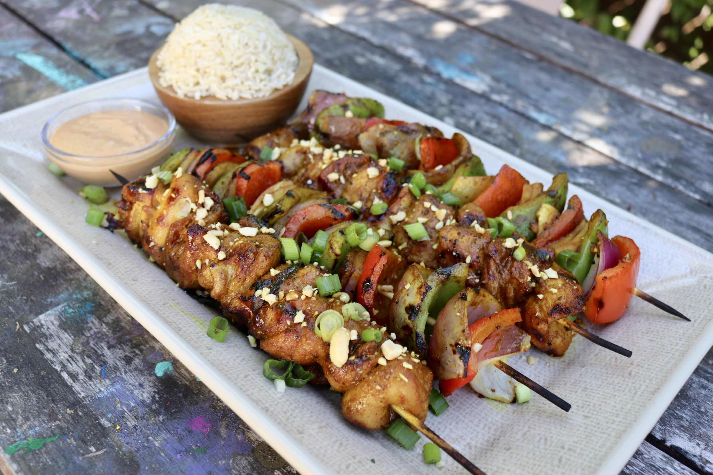 Thai Chicken and Veggie Skewers With Peanut Sauce