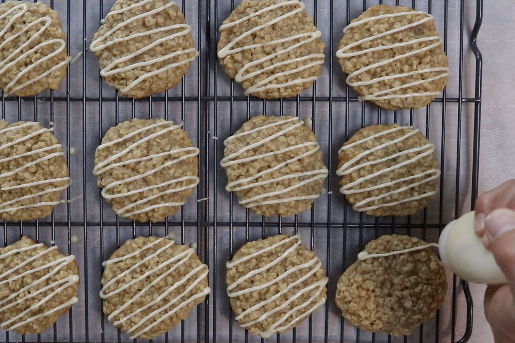 13. Drizzle maple glaze on top of the cookies and let cookies sit for an hour until the glaze hardens. -