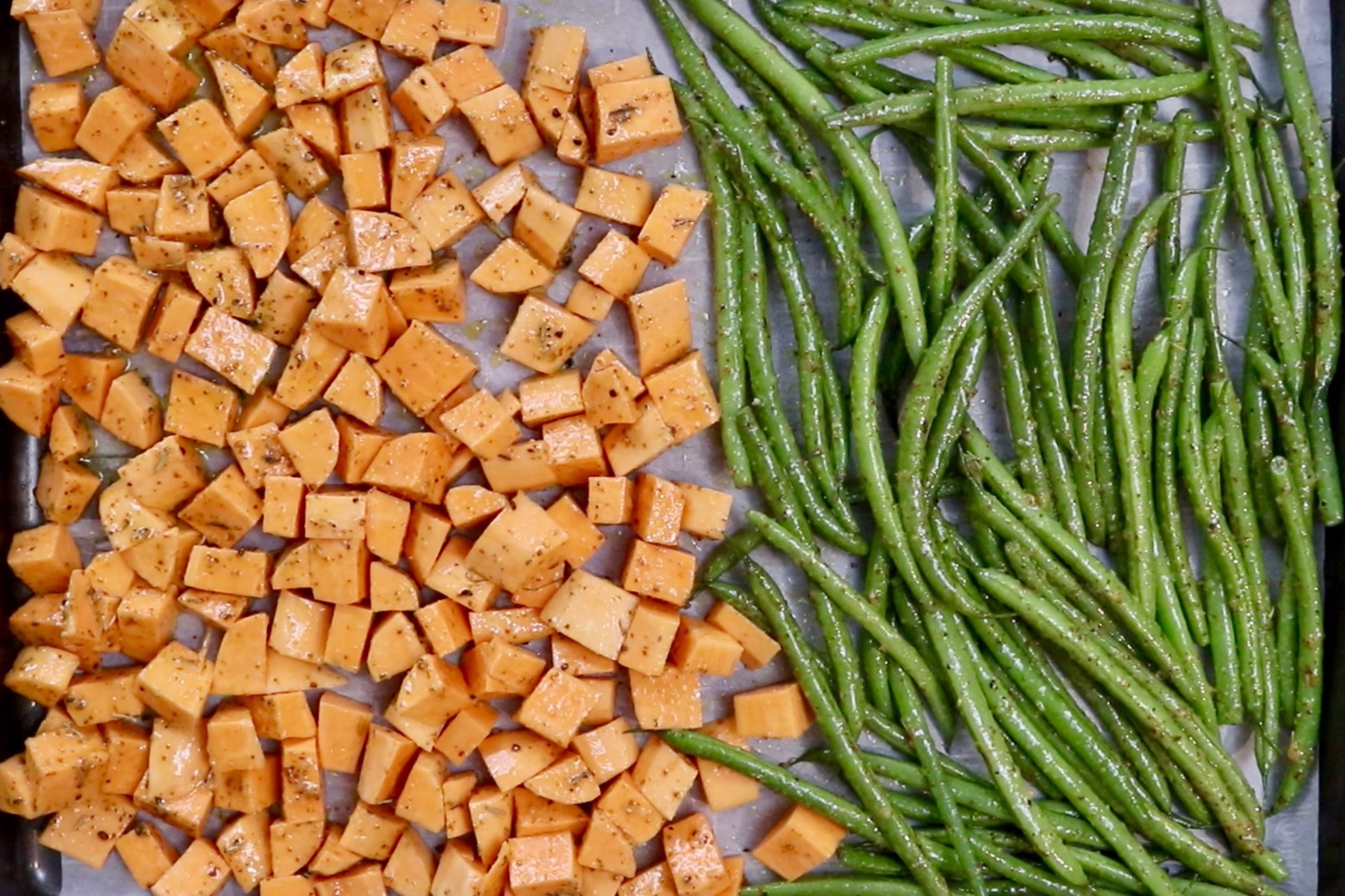 5. Spread veggies evenly on the baking sheet. Cook for 20 minutes. -