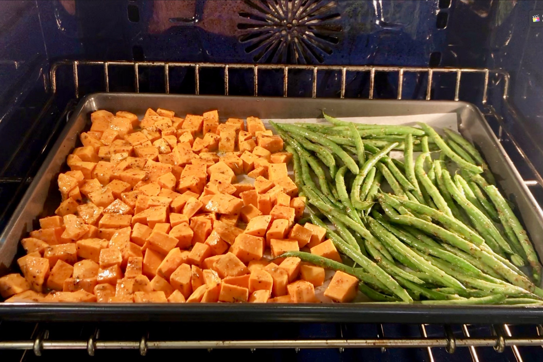 6. While veggies are cooking remove the chicken from refrigerator and allow to come to room temperature. -