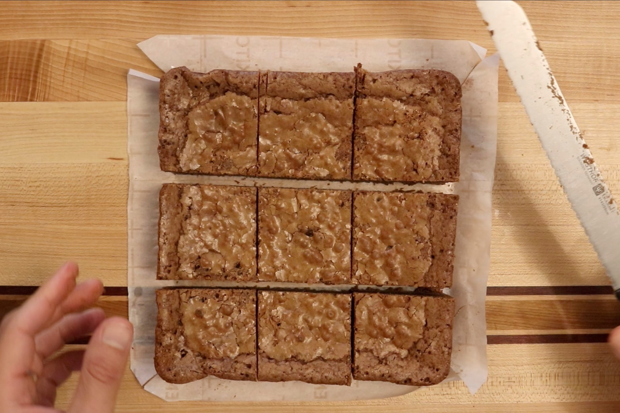 "10. Cut equally into 9- 3"" squares. -"