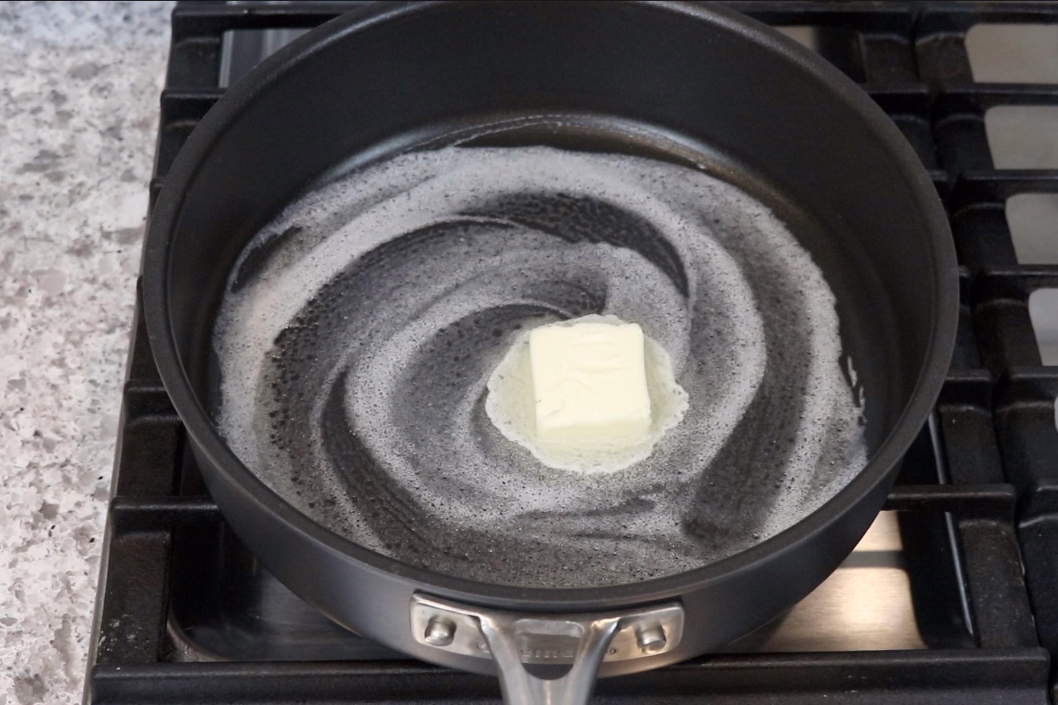 1. In a large deep skillet melt the butter over medium heat. -