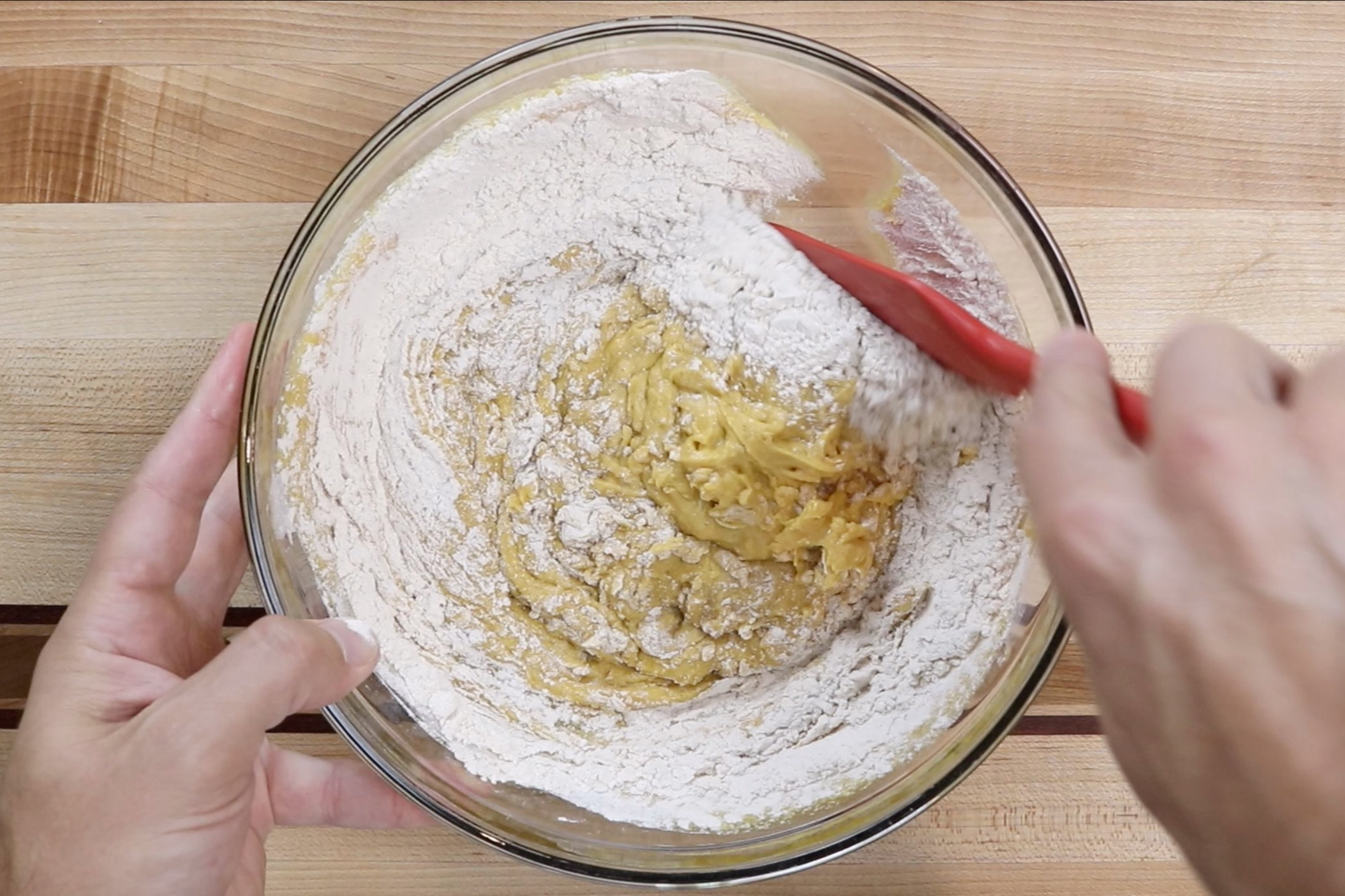 6. Stir in the remailing flour with a spatula until just combined. Dough will be very soft and sticky. -