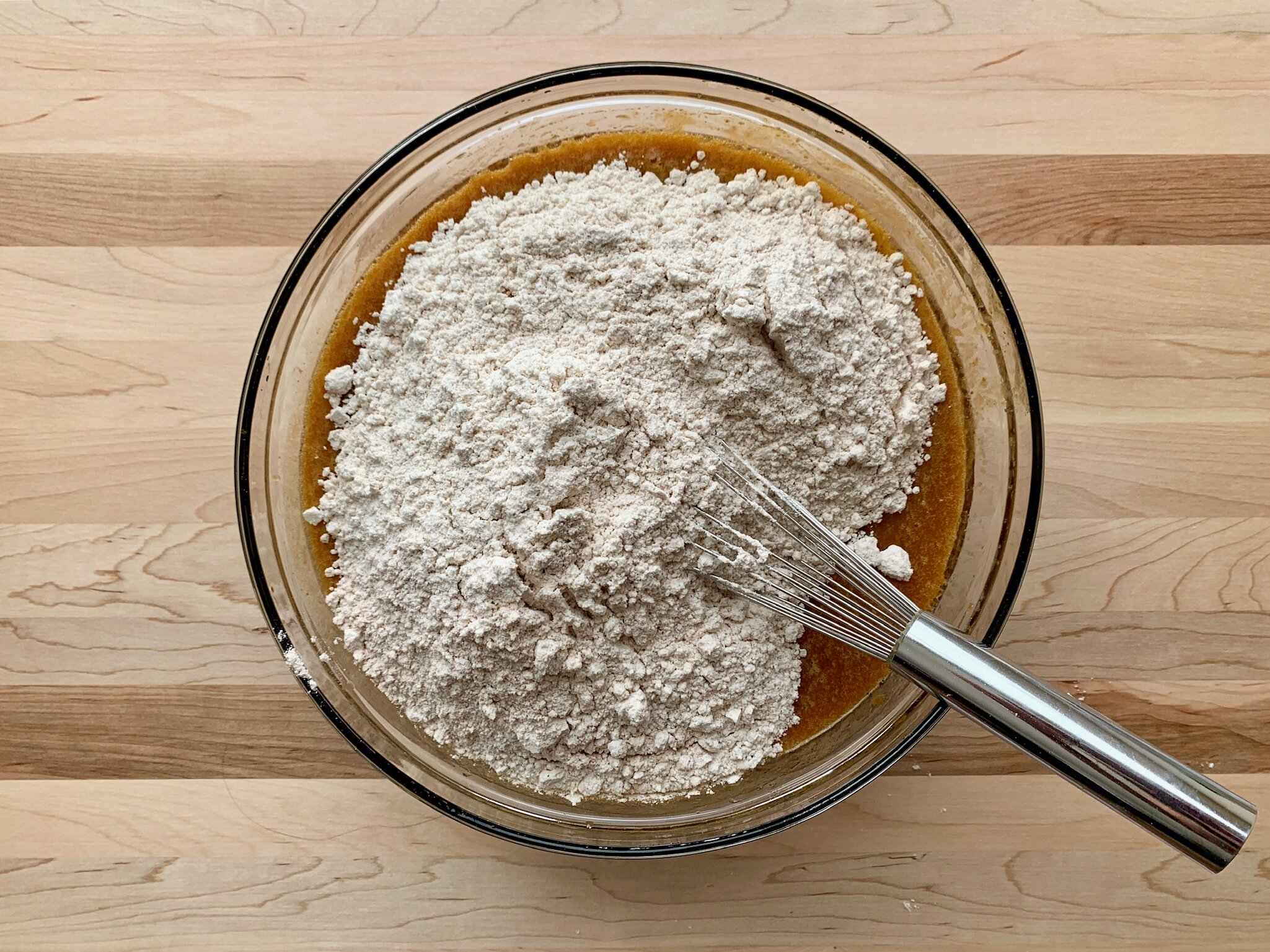 5. Add dry ingredients to pumpkin mixture. Mix until just combined. Do not overmix. -