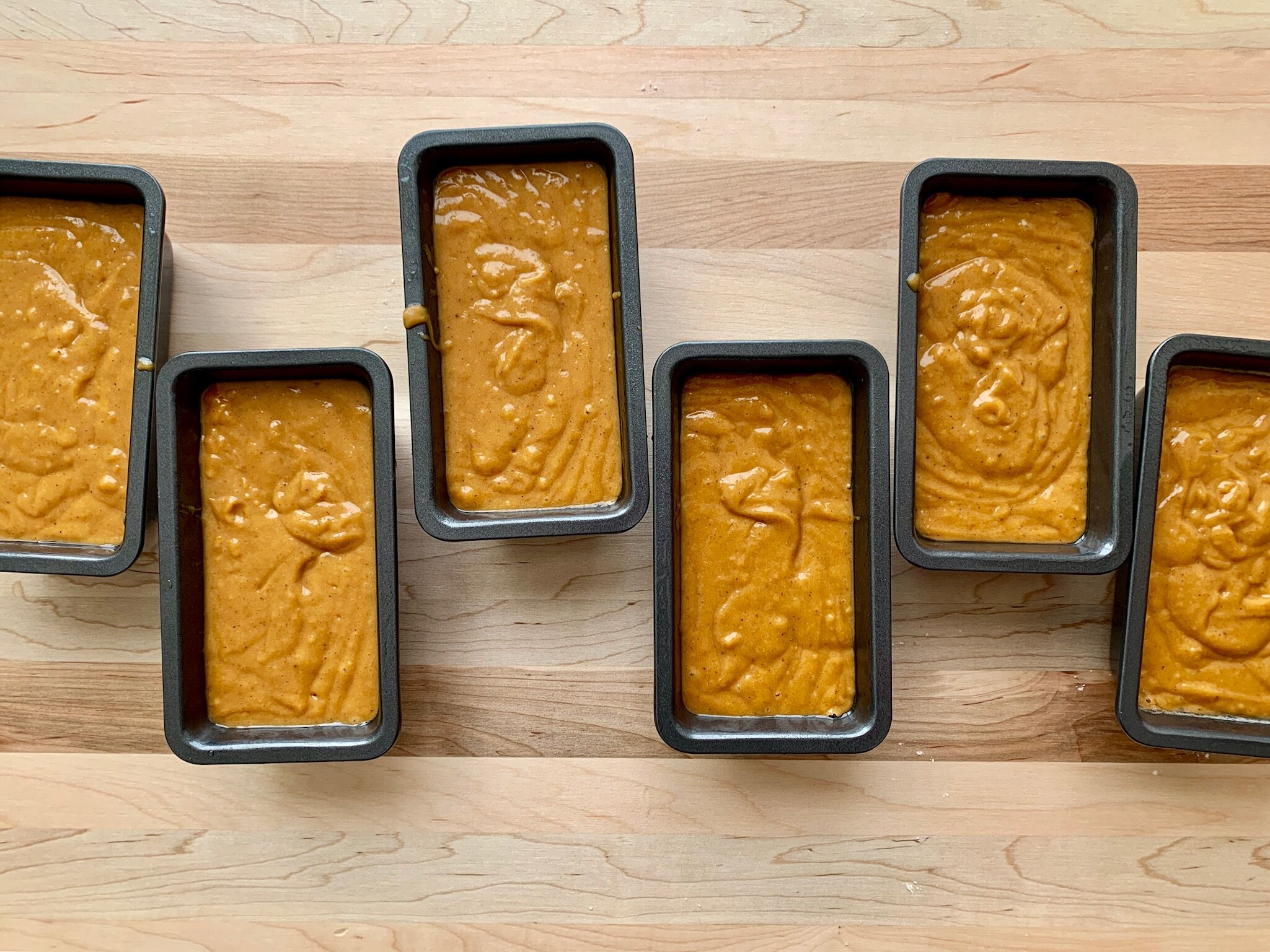 6. Add batter to prepared pans. Bake approximately 40-45 minutes for mini-loaf pans (50-55 minutes for 7x3 pans, 60-65 minutes for 9x5 loaf pans) or until a toothpick inserted in center of loaf comes out clean. -