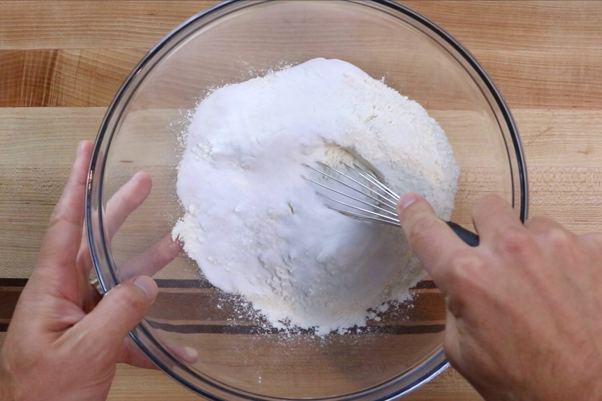 1. In a large mixing bowl, whisk together flour, salt and sugar. -