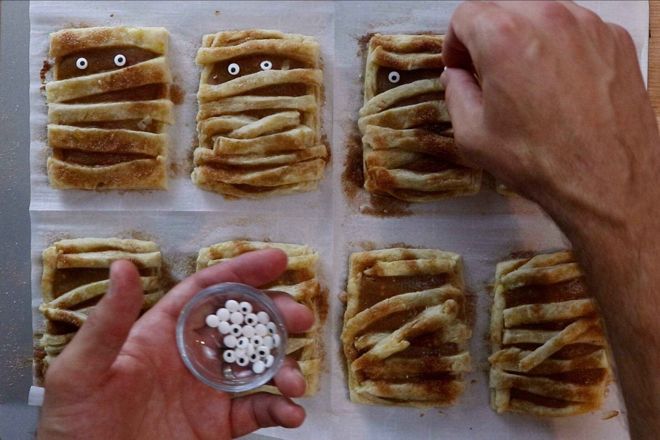 10. Remove from oven and let cool for minutes. Add candy eyes. -