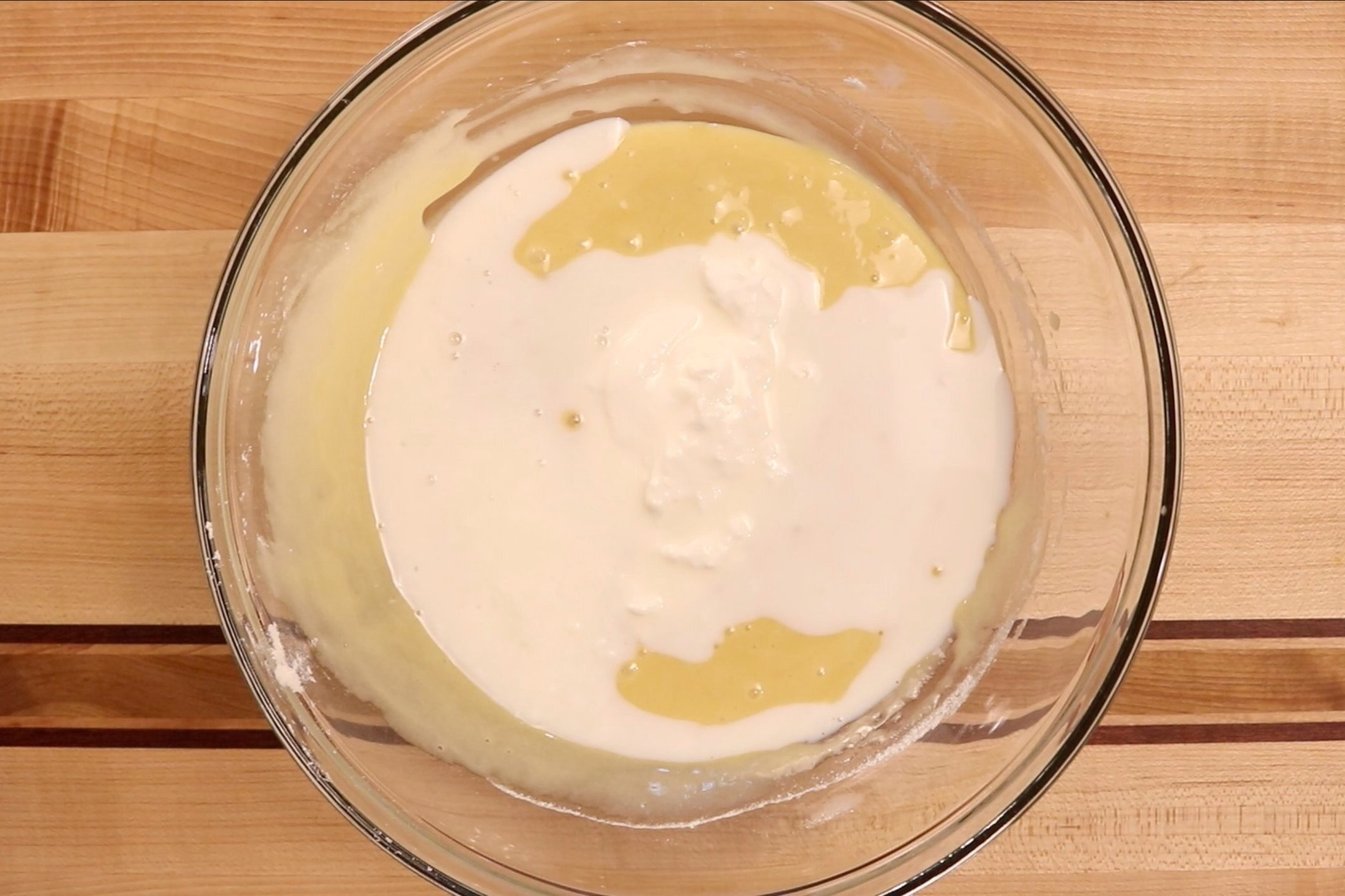 8. Stir in the sour cream and buttermilk. Mix until combined. -