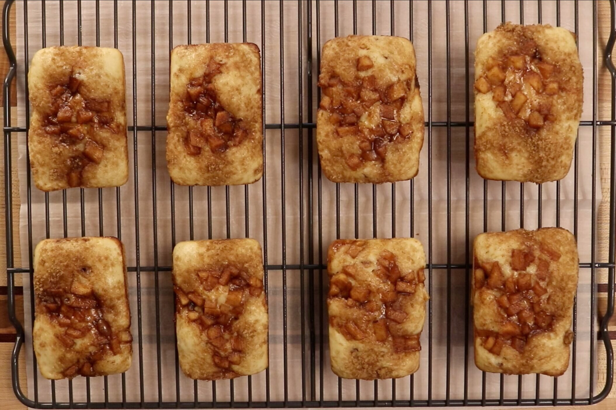 15. Remove from oven and let cool in pan for 5 minutes before releasing. Let loaves finish cooling on a wire rack. -