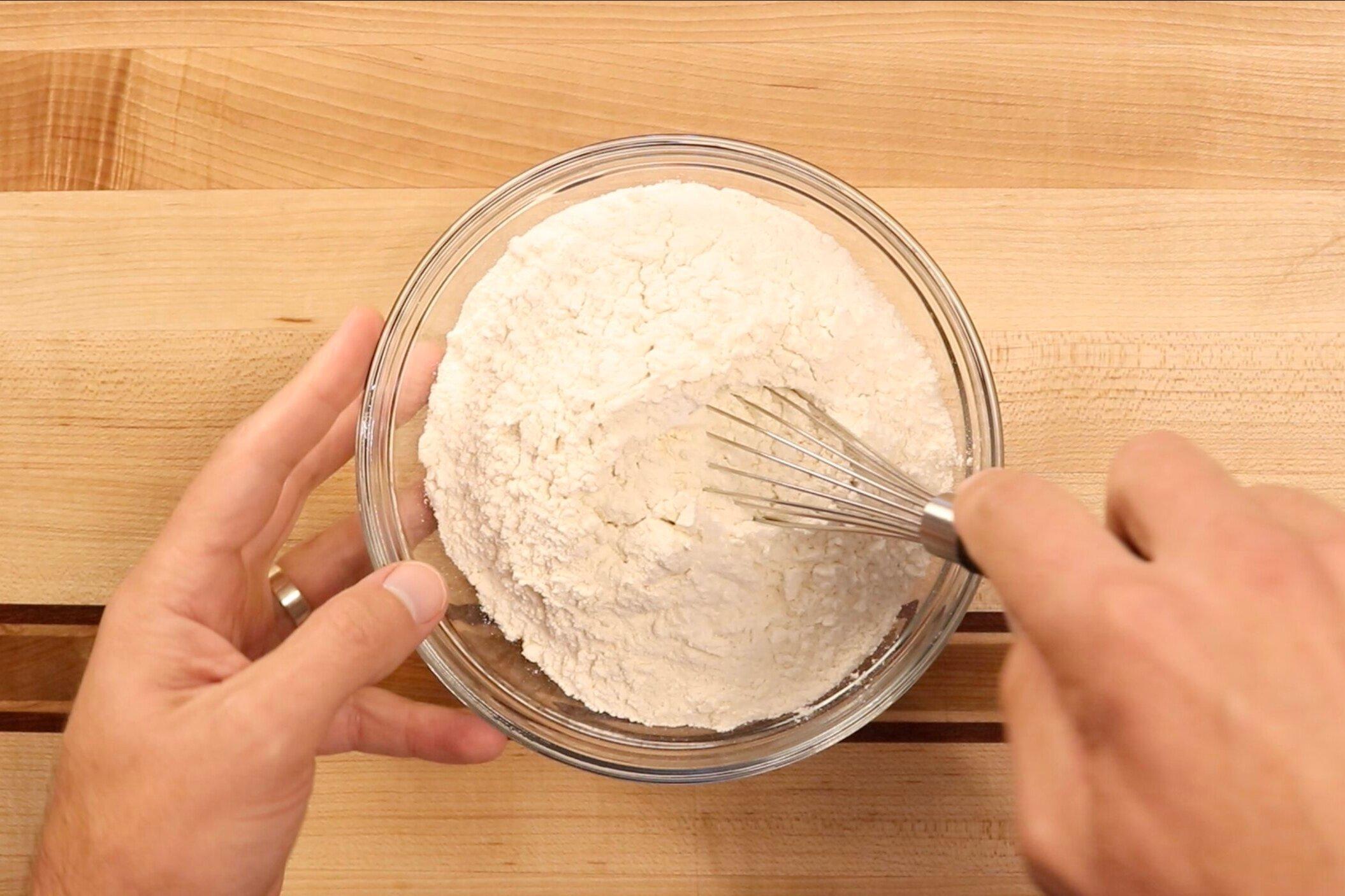 1. In a medium bowl combine flour, baking powder and salt. Set aside. -