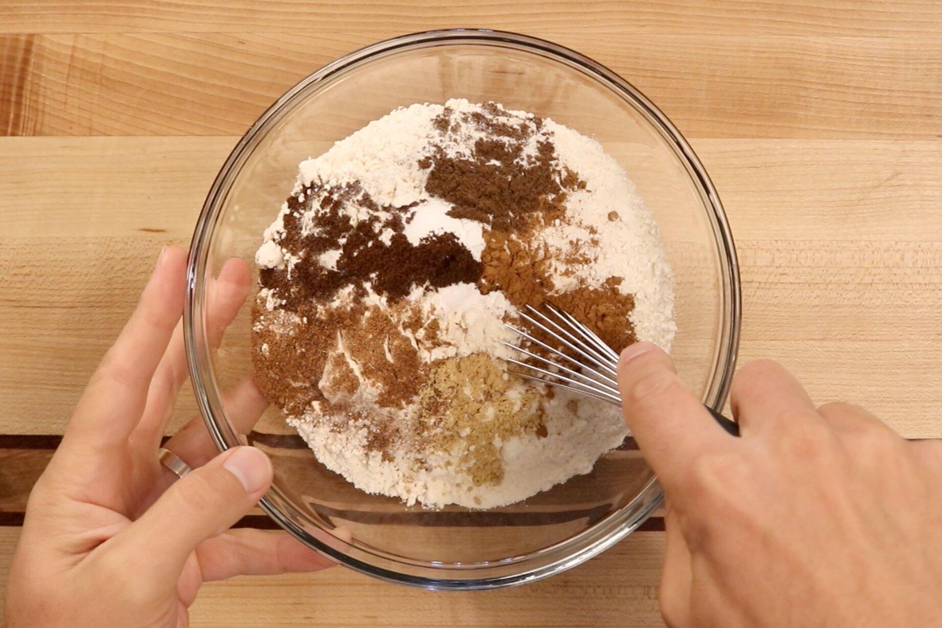2. In a medium bowl add flour, baking powder, baking soda, salt, cinnamon, nutmeg, ginger, cloves and all-spice. Whisk until incorporated. Set aside. -