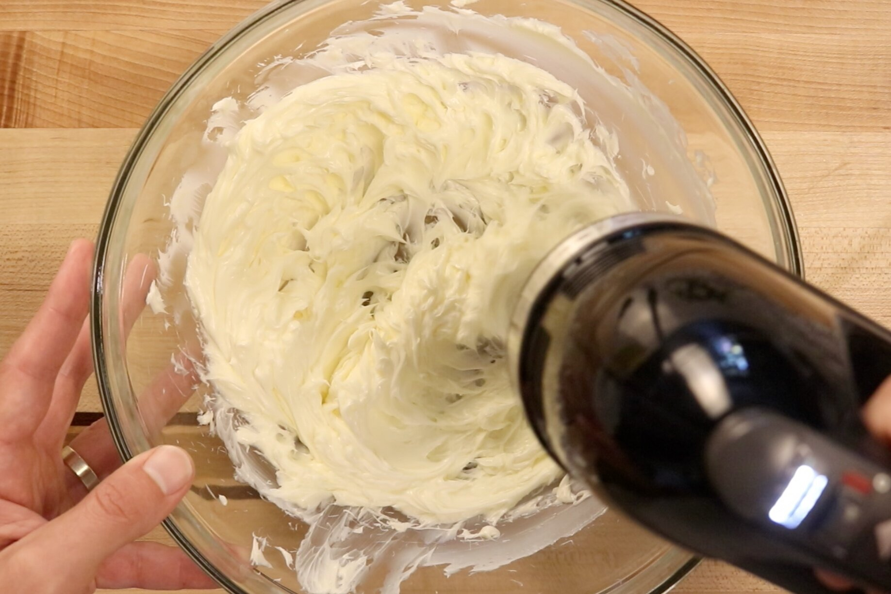 3. Increase to medium speed and beat for two minutes scraping down the edges when necessary. -