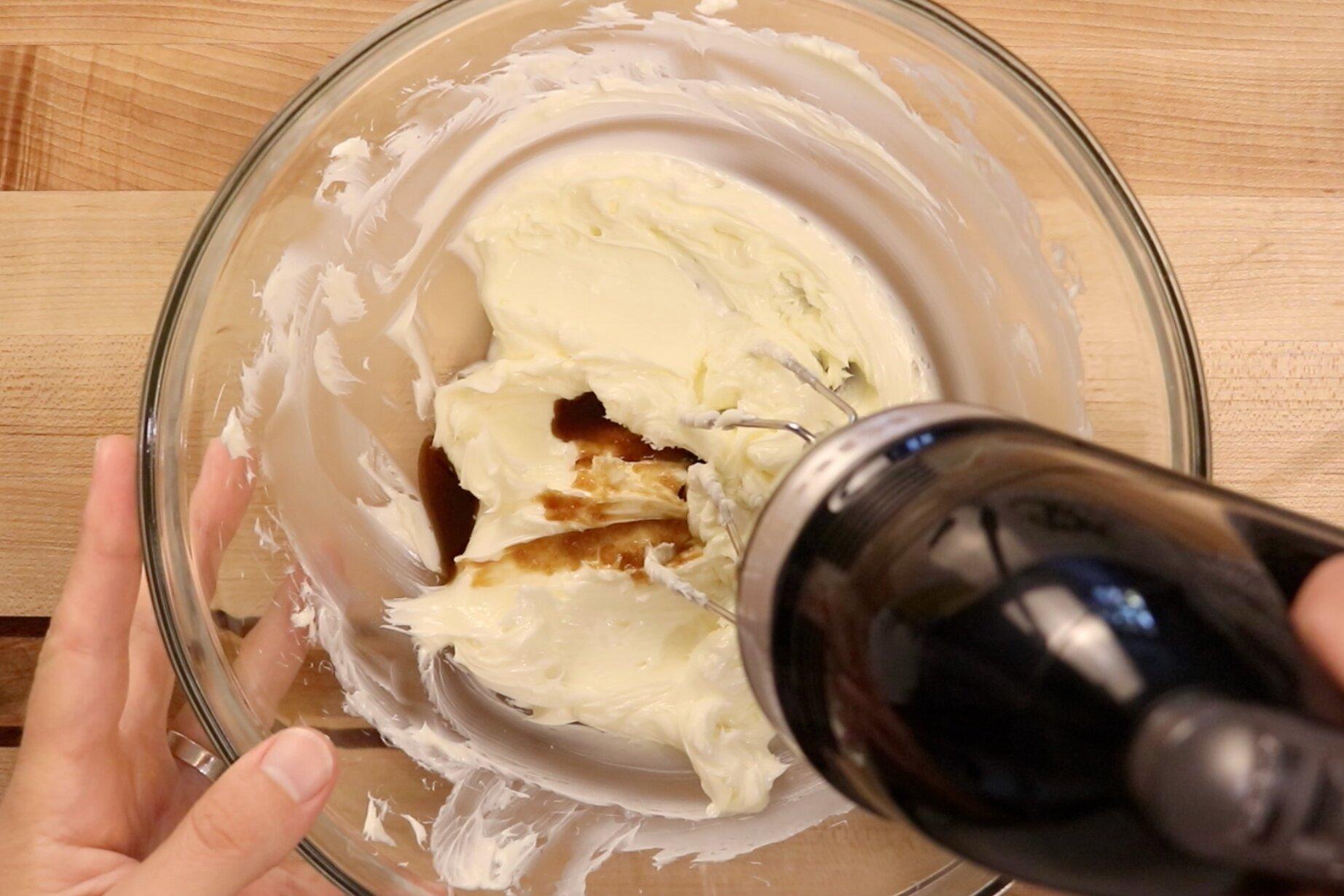 2. Add vanilla and salt. Continue mixing. -