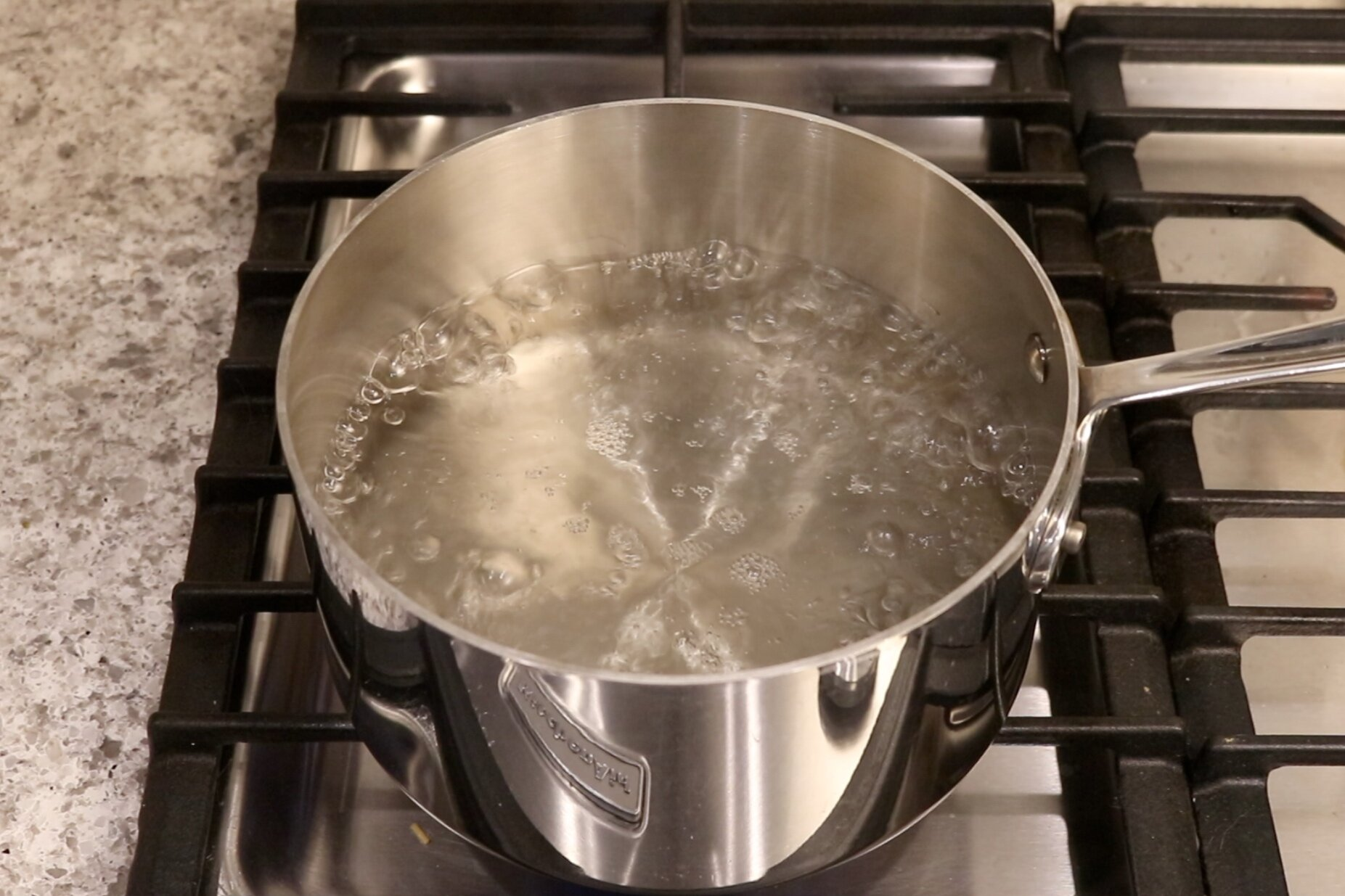 5. While meatballs are cooking, add six cups of water to a medium pot and bring to a boil. Add 1 teaspoon of salt to the water. -