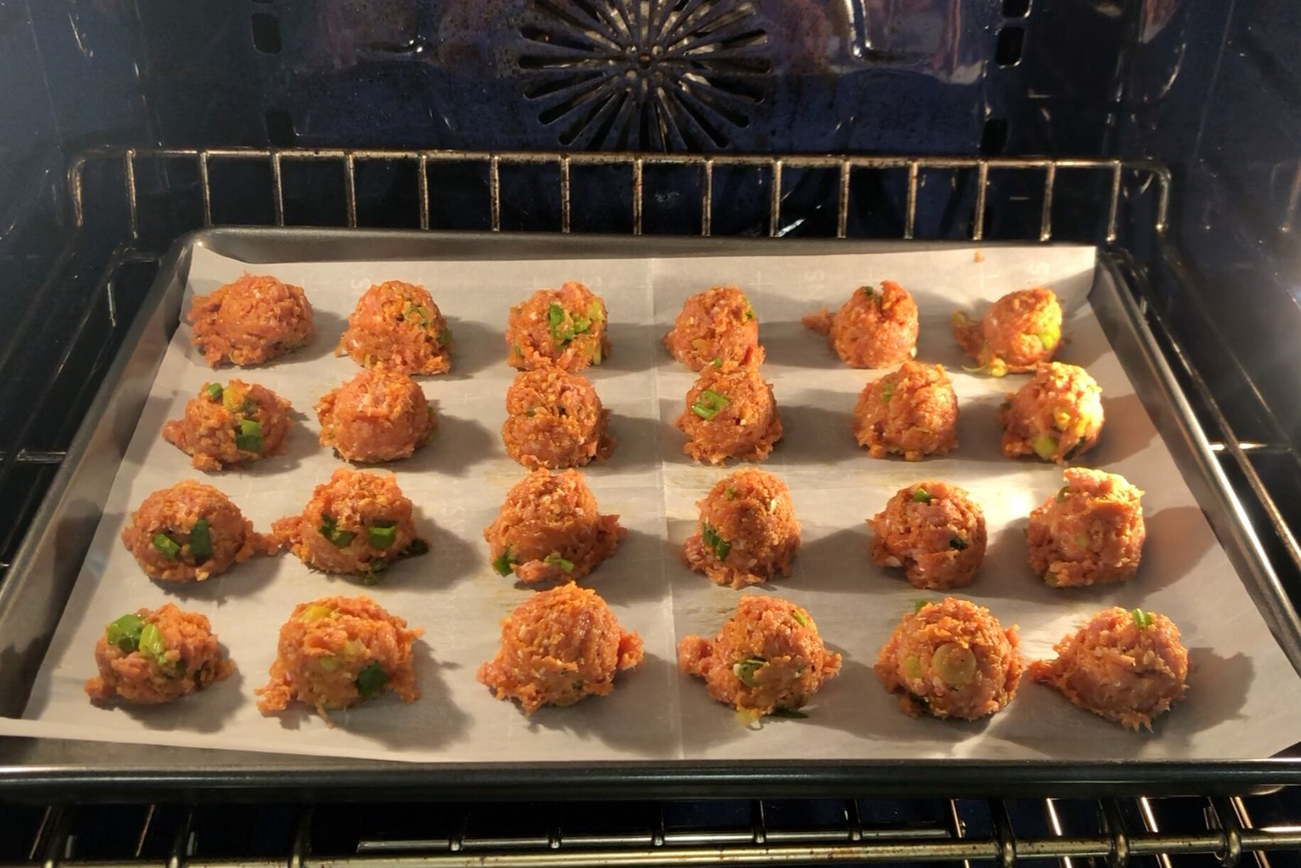 4. Bake for 20-25 minutes turning the meatballs halfway through. If using a thermometer, the internal temperature should be around 170 degrees. -