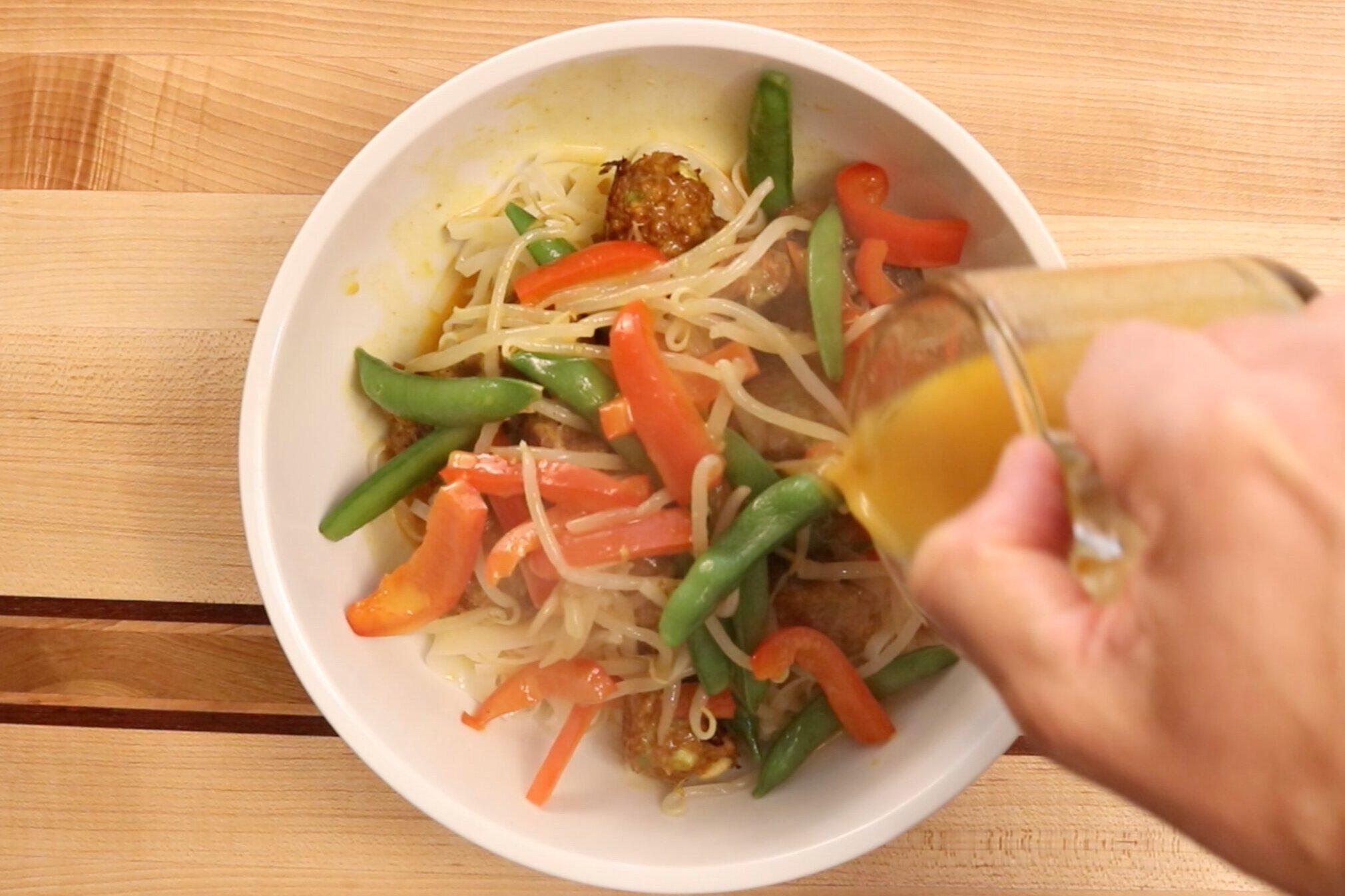 13. Split the noodles, veggies, meatballs and broth between 2-4 bowls. -