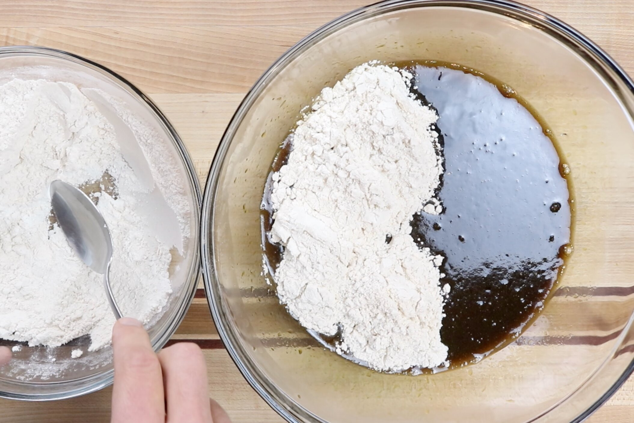 5. Slowly add the dry ingredients to the wet ingredients and whisk until just combined. -
