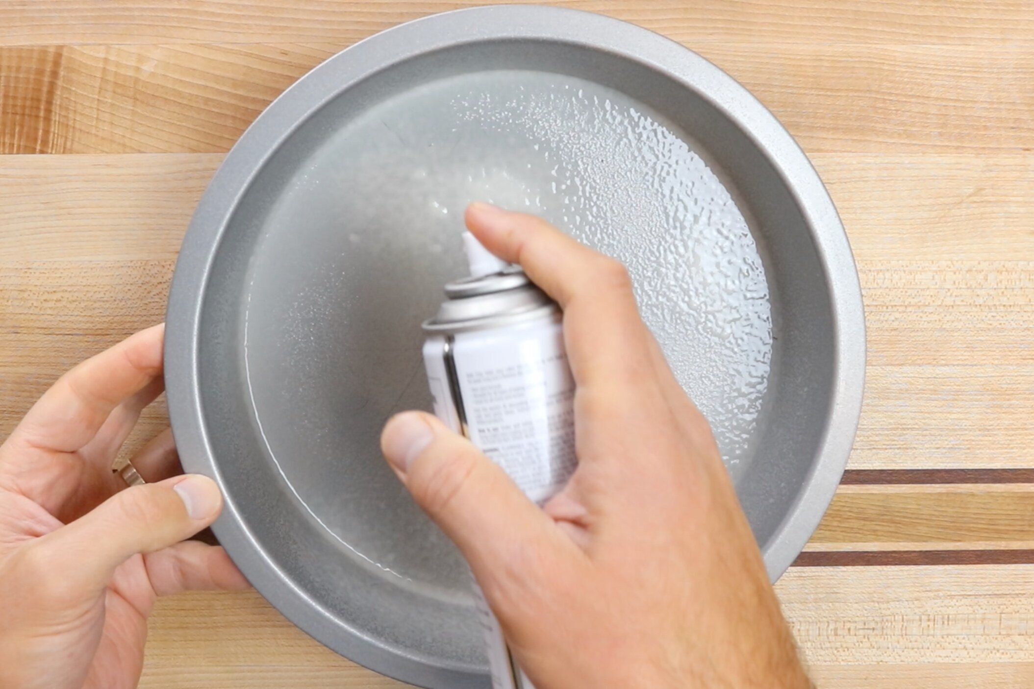 1. Preheat oven to 350 degrees. Grease a 9-in circle pan with baking spray. -