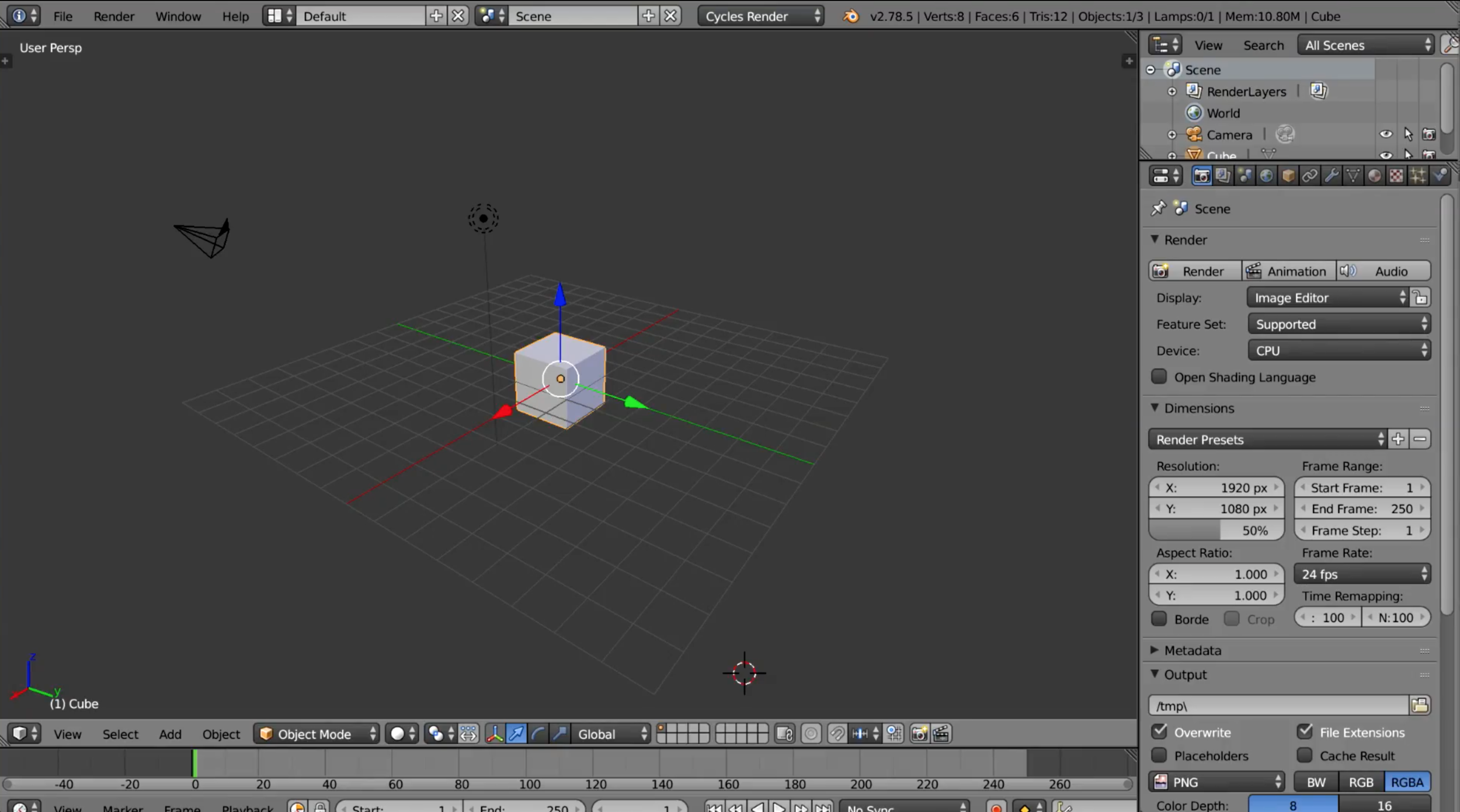 Screenshot of Blender 2.79